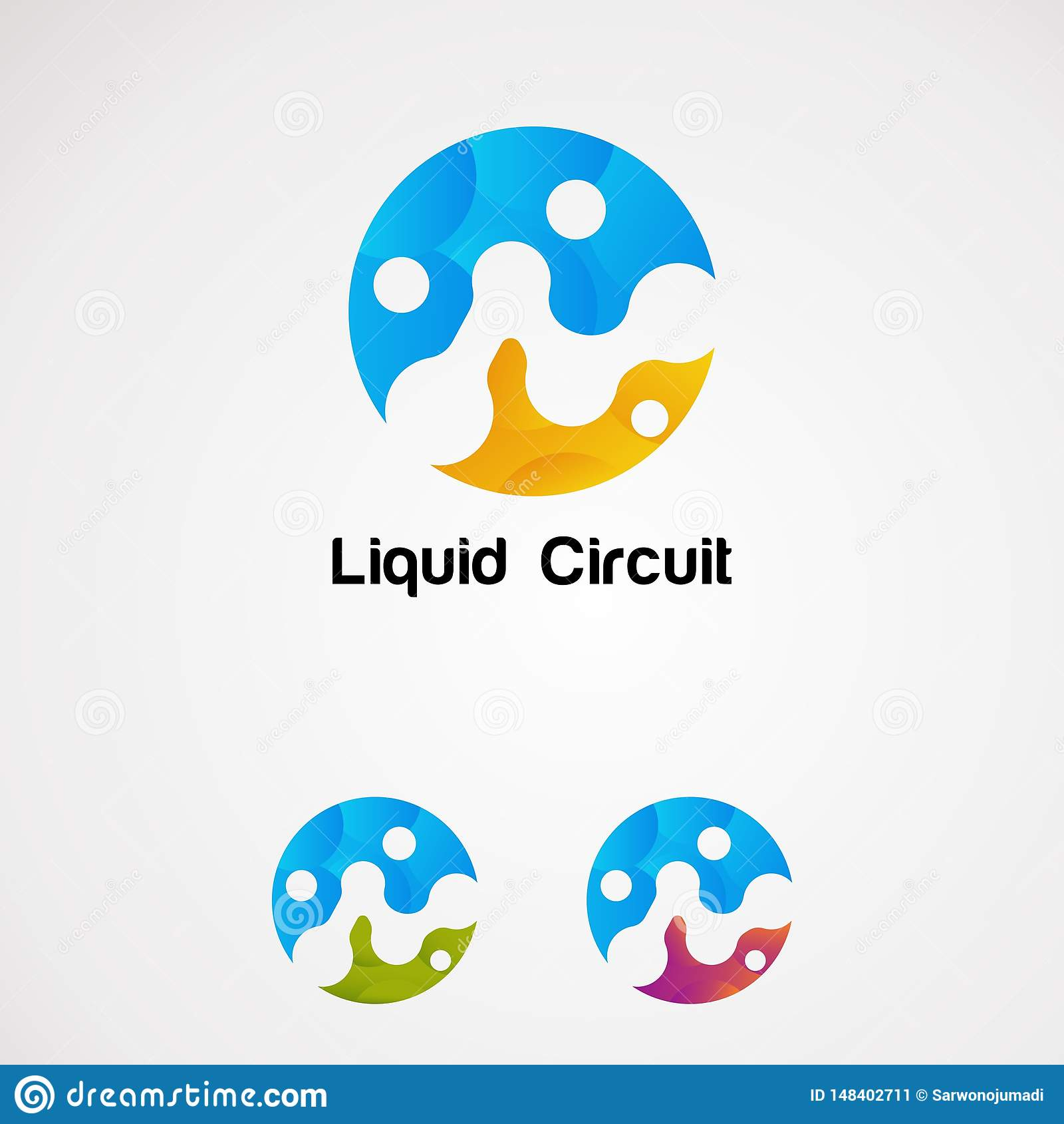 Vector, icono, elemento, y plantilla líquidos coloridos del logotipo del círculo para la compañía