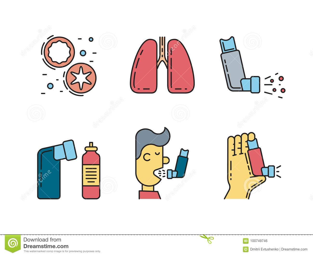 Vector icons asthma