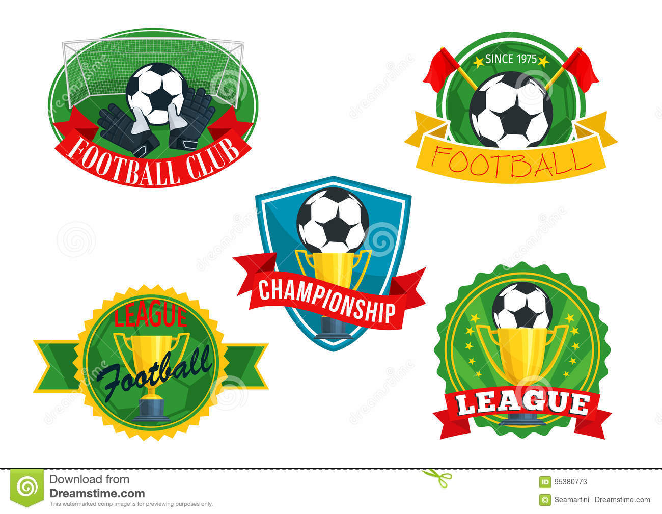Vector Icons Badges For Football Club Championship Stock Vector