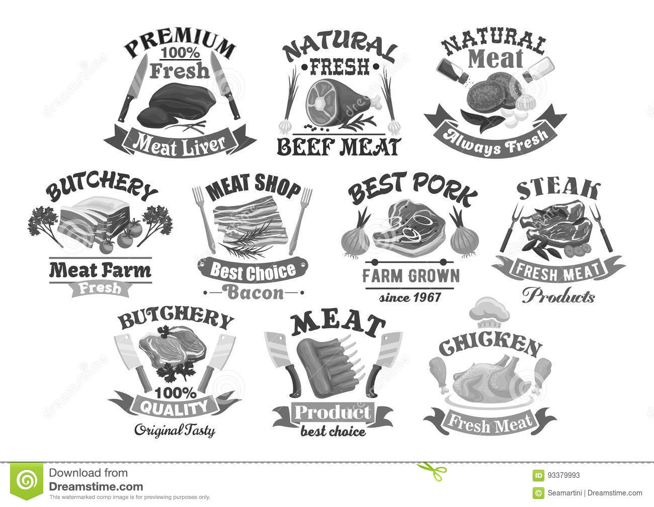 Vector Icons For Butchery Shop Meat Products Stock Vector