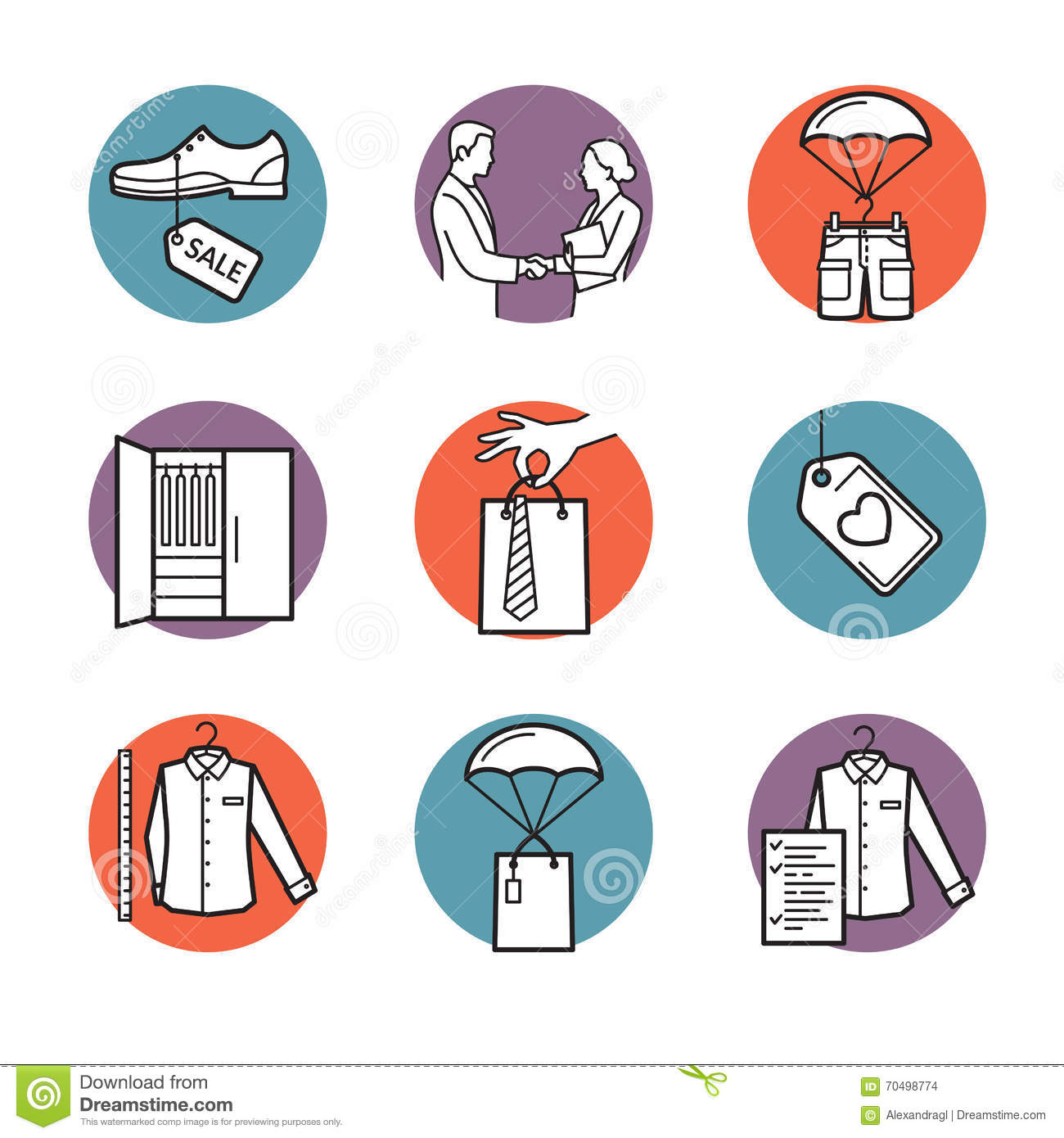 vector icons of clothing buy sell delivery stock vector