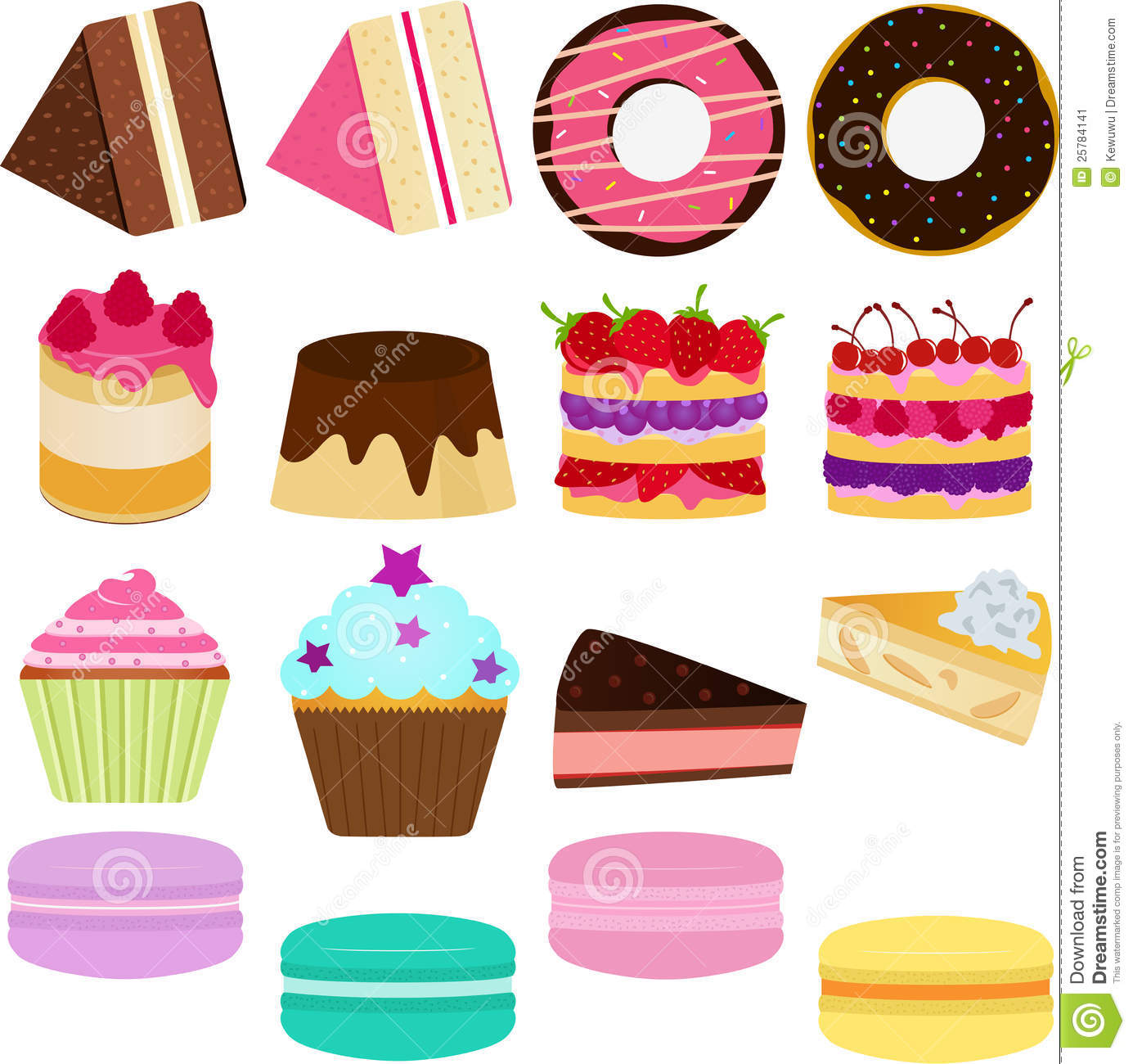 Vector Icons Cute Sweet Cake Stock Vector Image 25784141