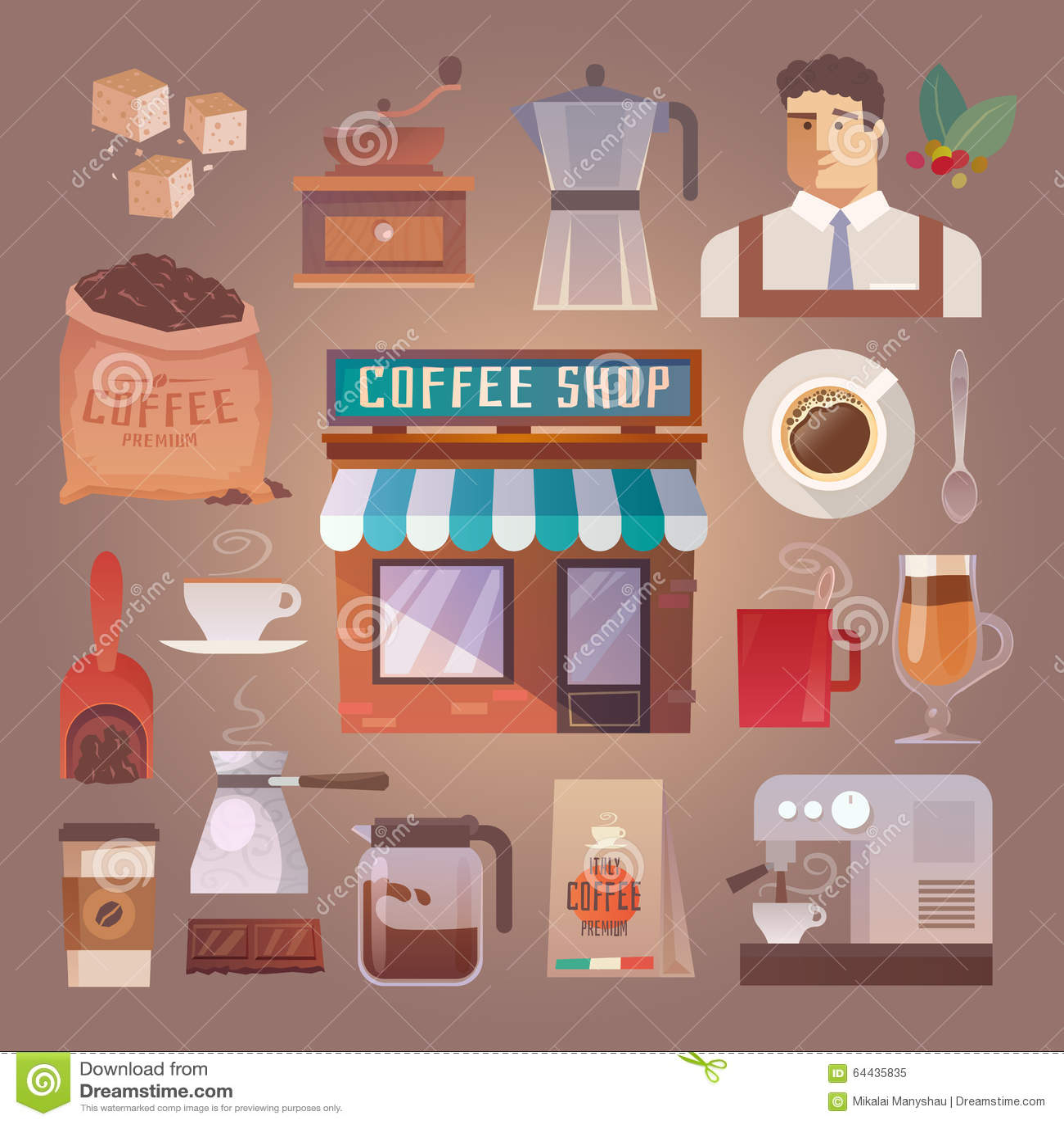 English In Italian: Vector Icons. Drinks. Coffee. Stock Vector