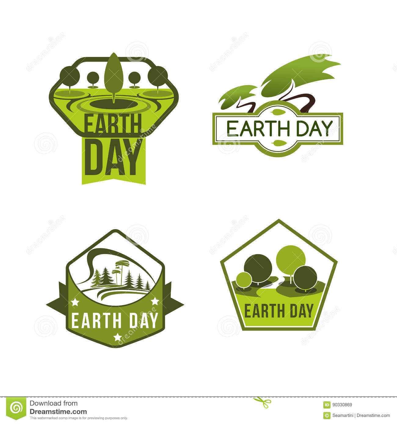 Vector Icons For Earth Day And Save Planet Nature Stock Vector