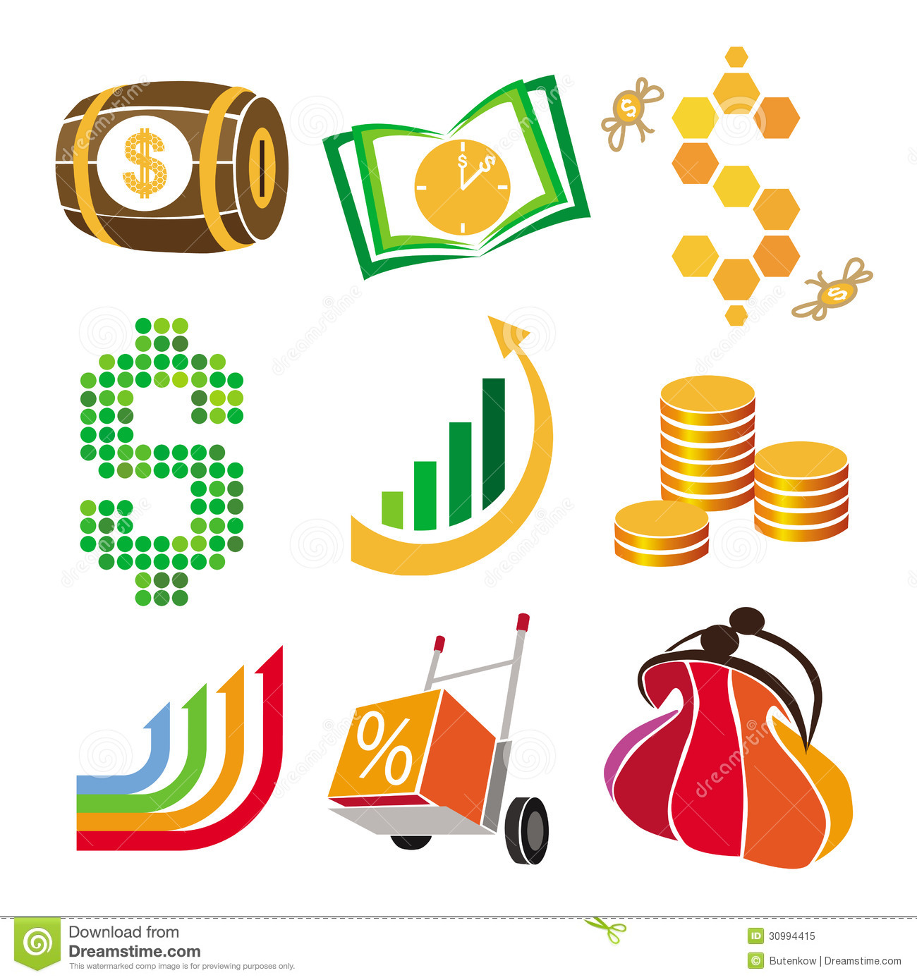 Vector Icons Of Finance, Money Stock Illustration - Illustration of discount, selling: 30994415