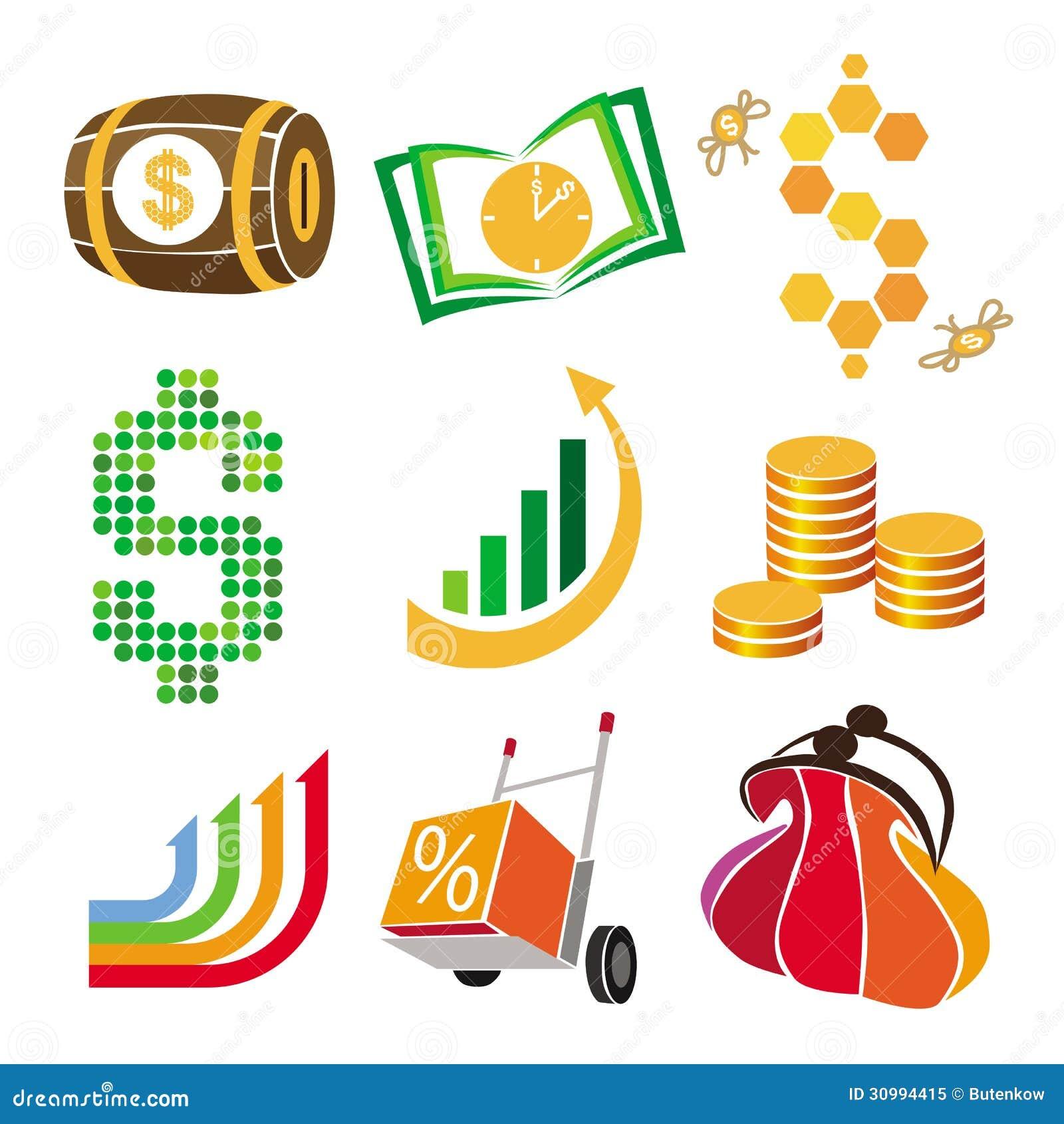 Finance Graphics: Vector Icons Of Finance, Money Stock Illustration
