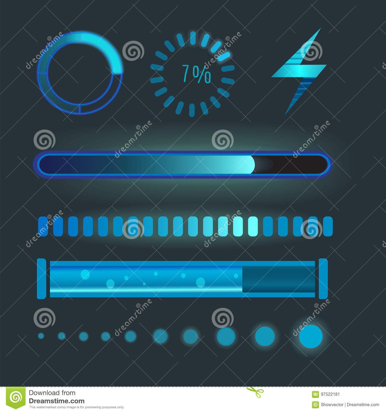 Vector icons for mobile applications design web internet loading interface download media button.