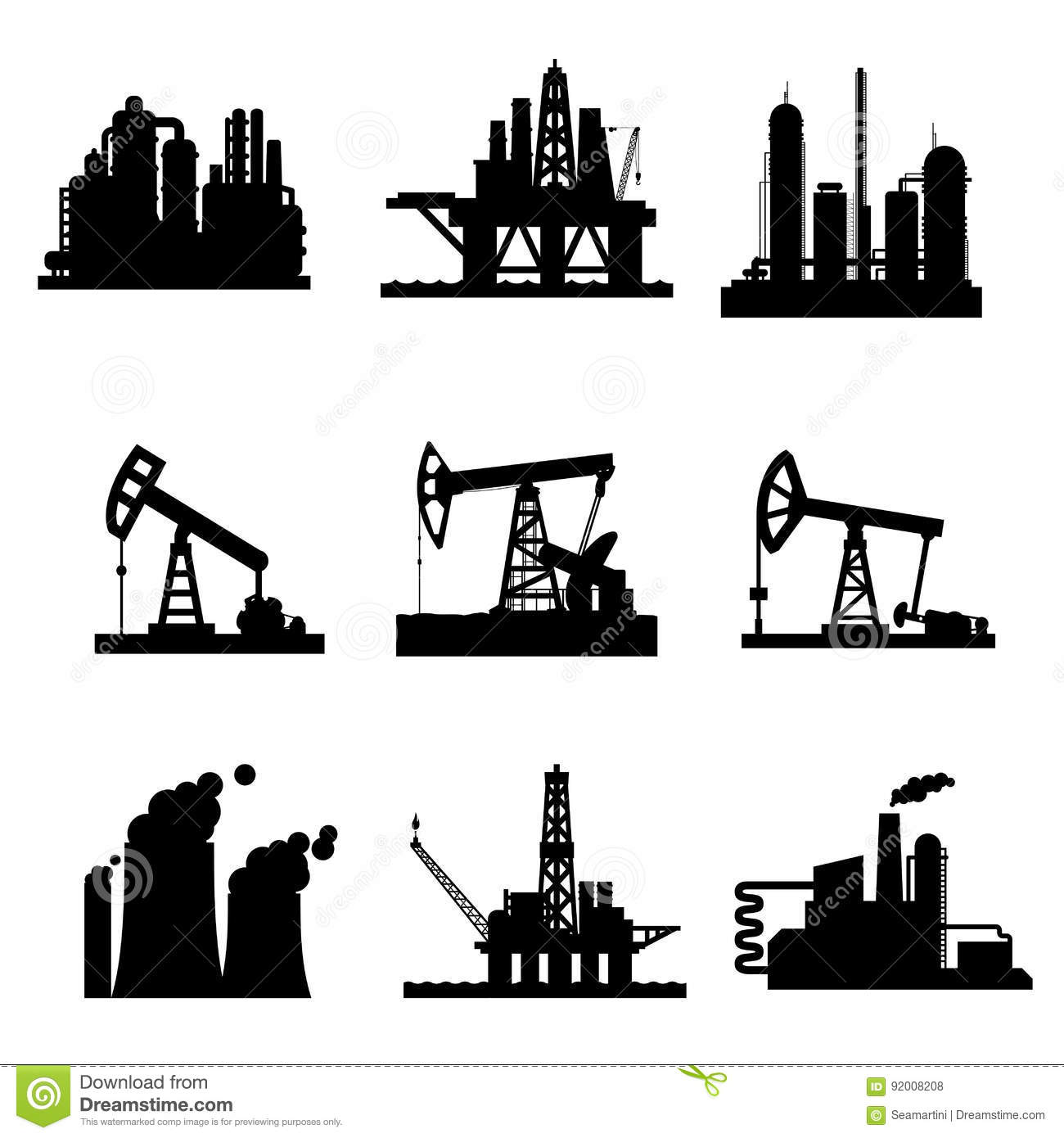 vector icons of oil derricks and gas mining plants stock