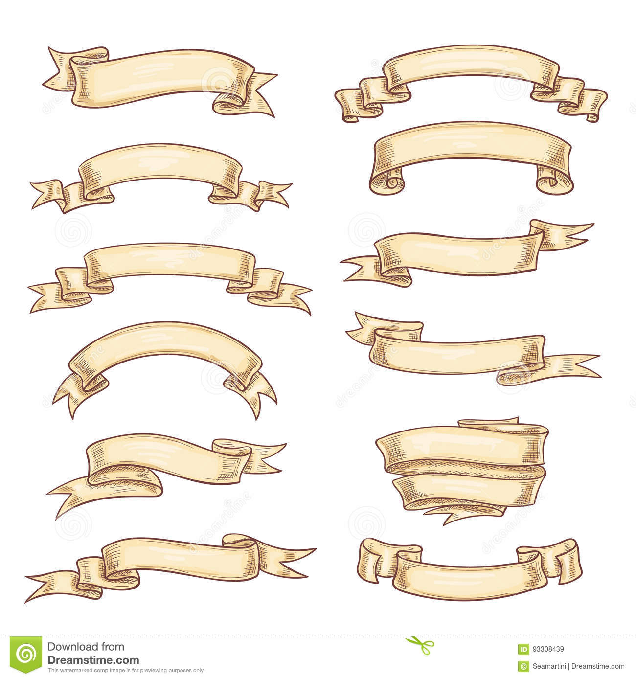 Vector Icons Old Paper Roll Or Manuscript Ribbon Stock ...  Old