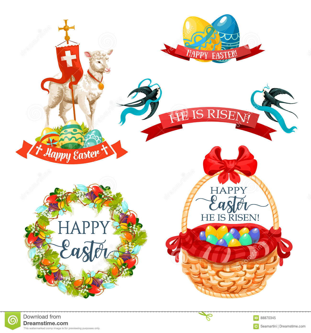 Vector Icons And Paschal Symbols For Easter Design Stock Vector