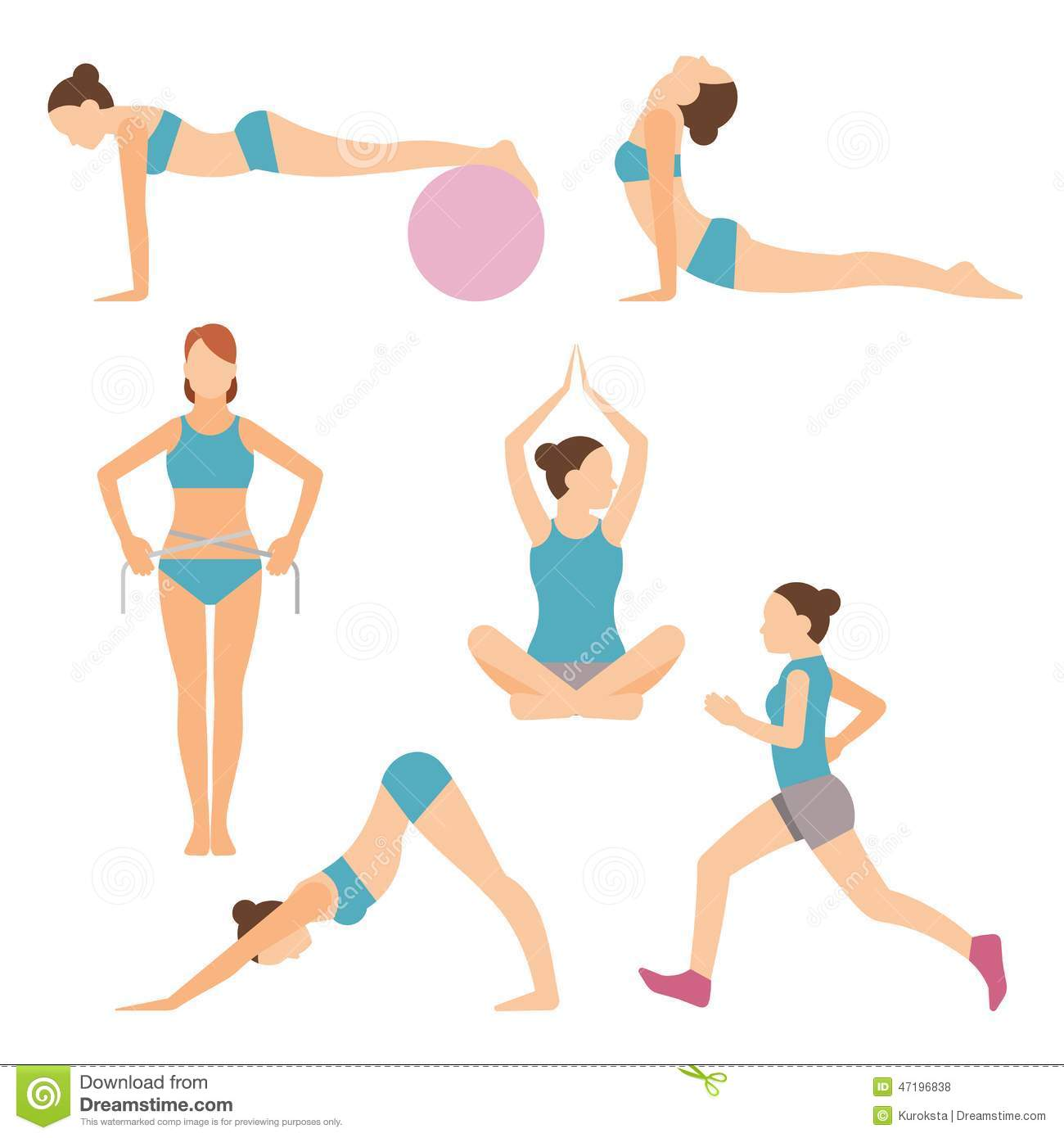 Vector Icons Of People Exercising At The Gym And Fitness ...