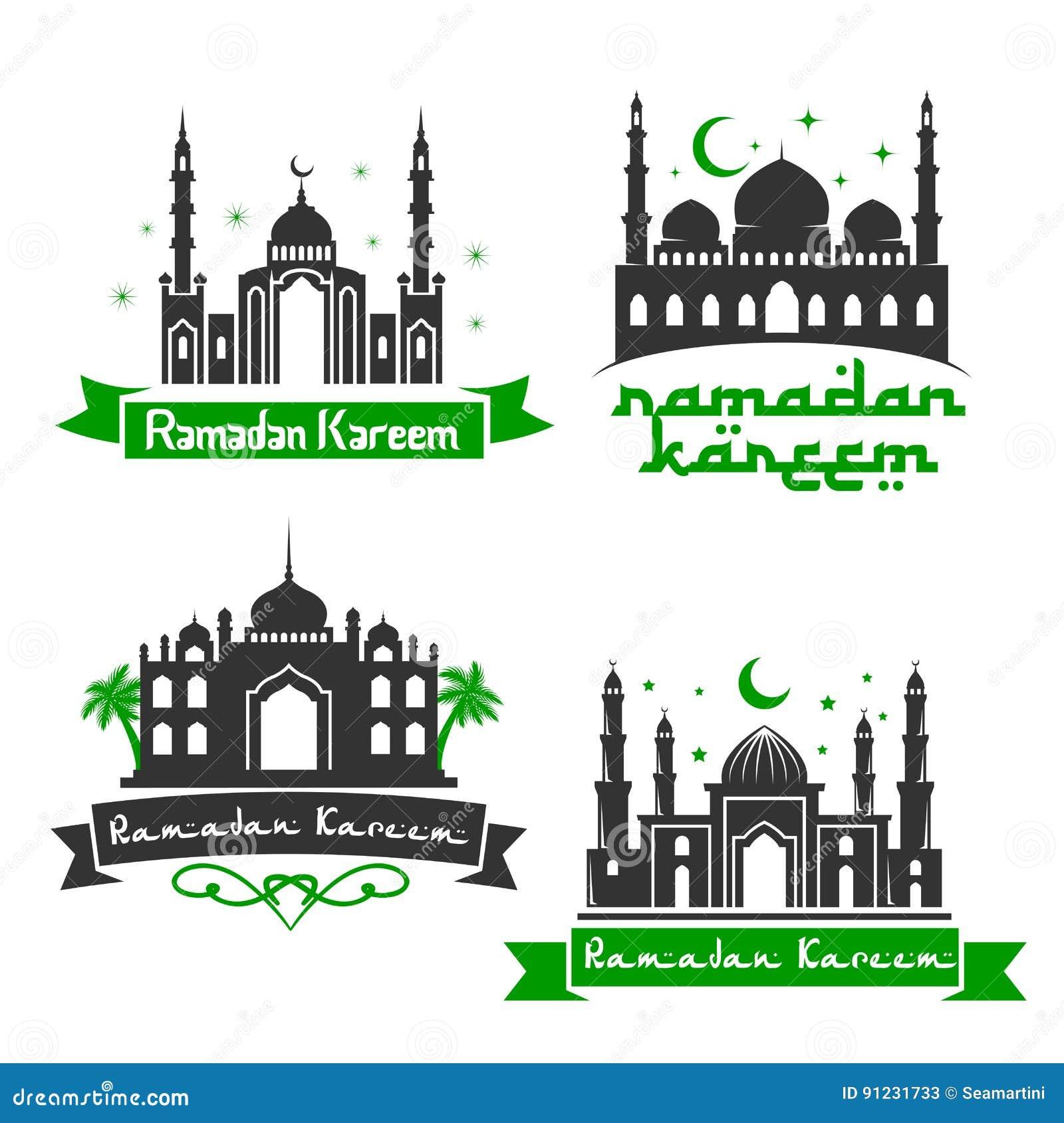 Vector Icons For Ramadan Kareem Holiday Greetings Stock Vector
