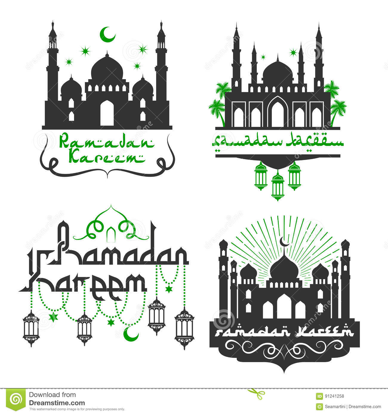 Vector icons for ramadan kareem holiday greetings stock vector download comp m4hsunfo