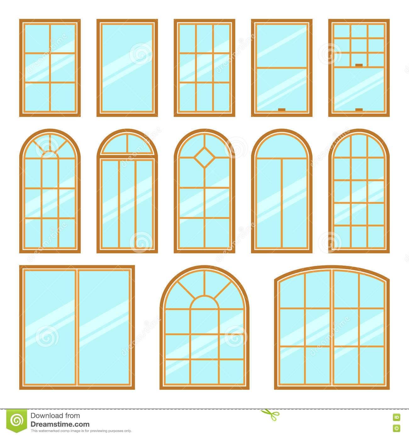 Vector icons set of different types of windows stock for Window shapes and designs