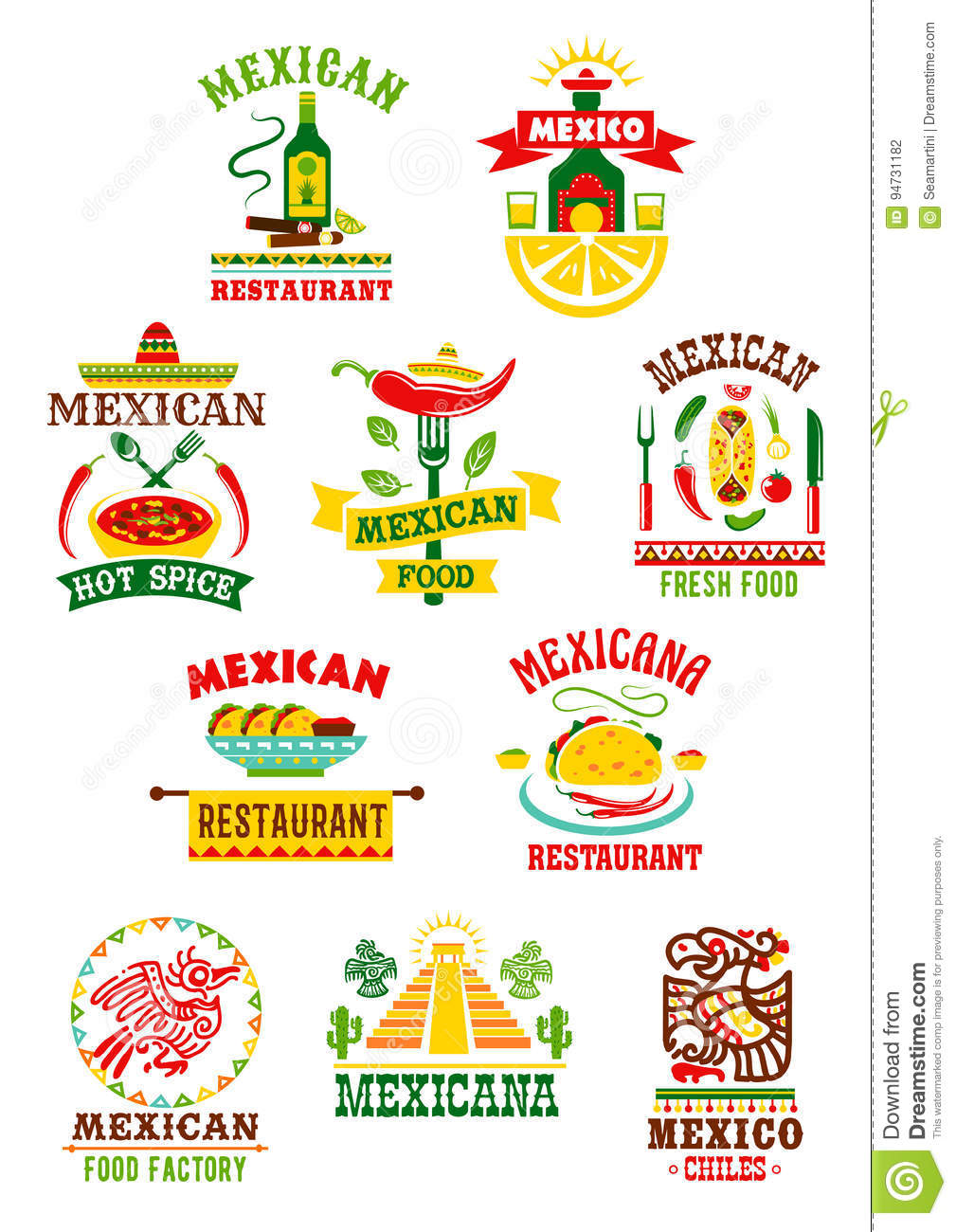Vector Icons Set For Mexican Fast Food Restaurant Stock Vector