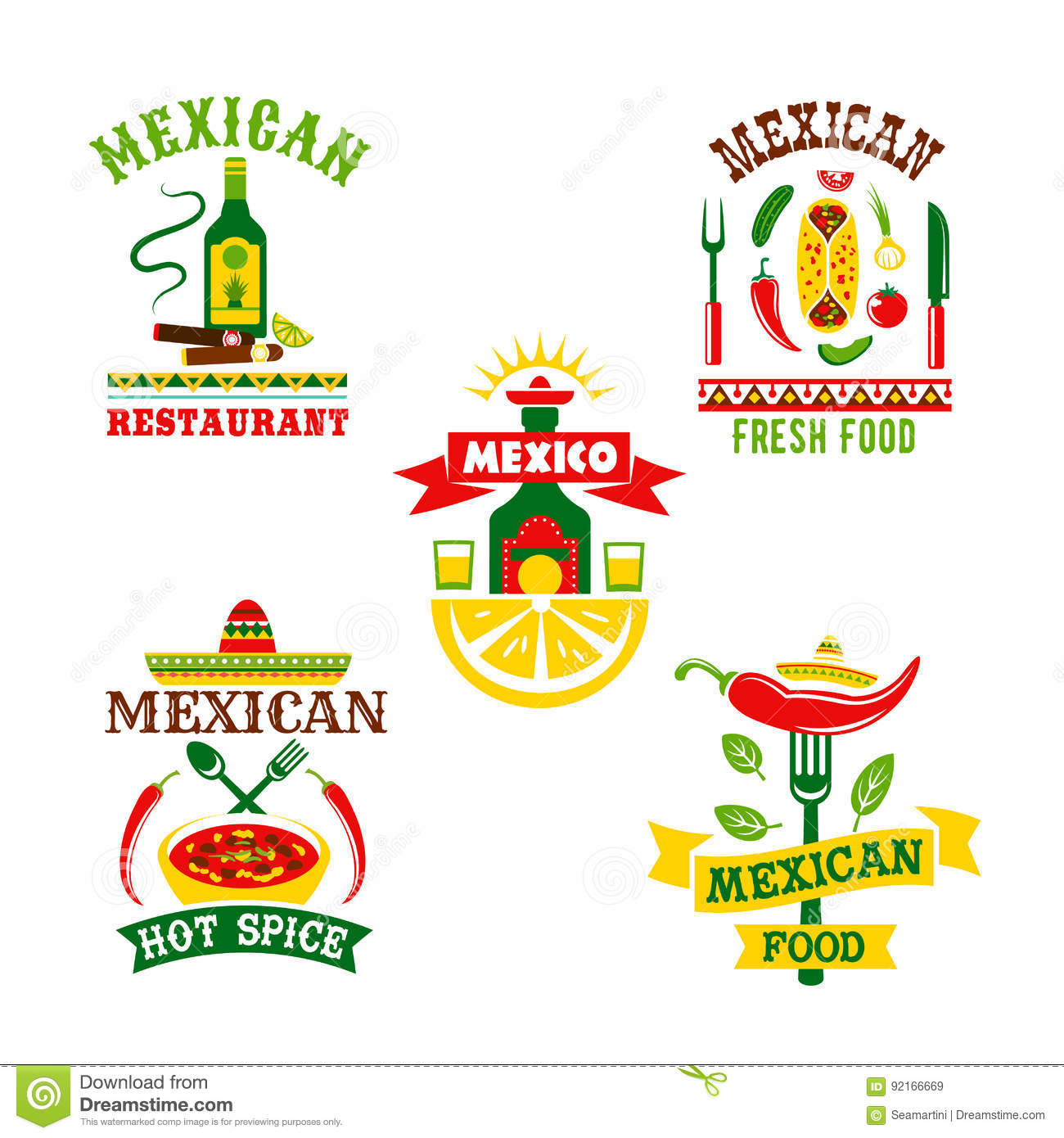 Vector Icons Set For Mexican Restaurant Stock Vector Illustration
