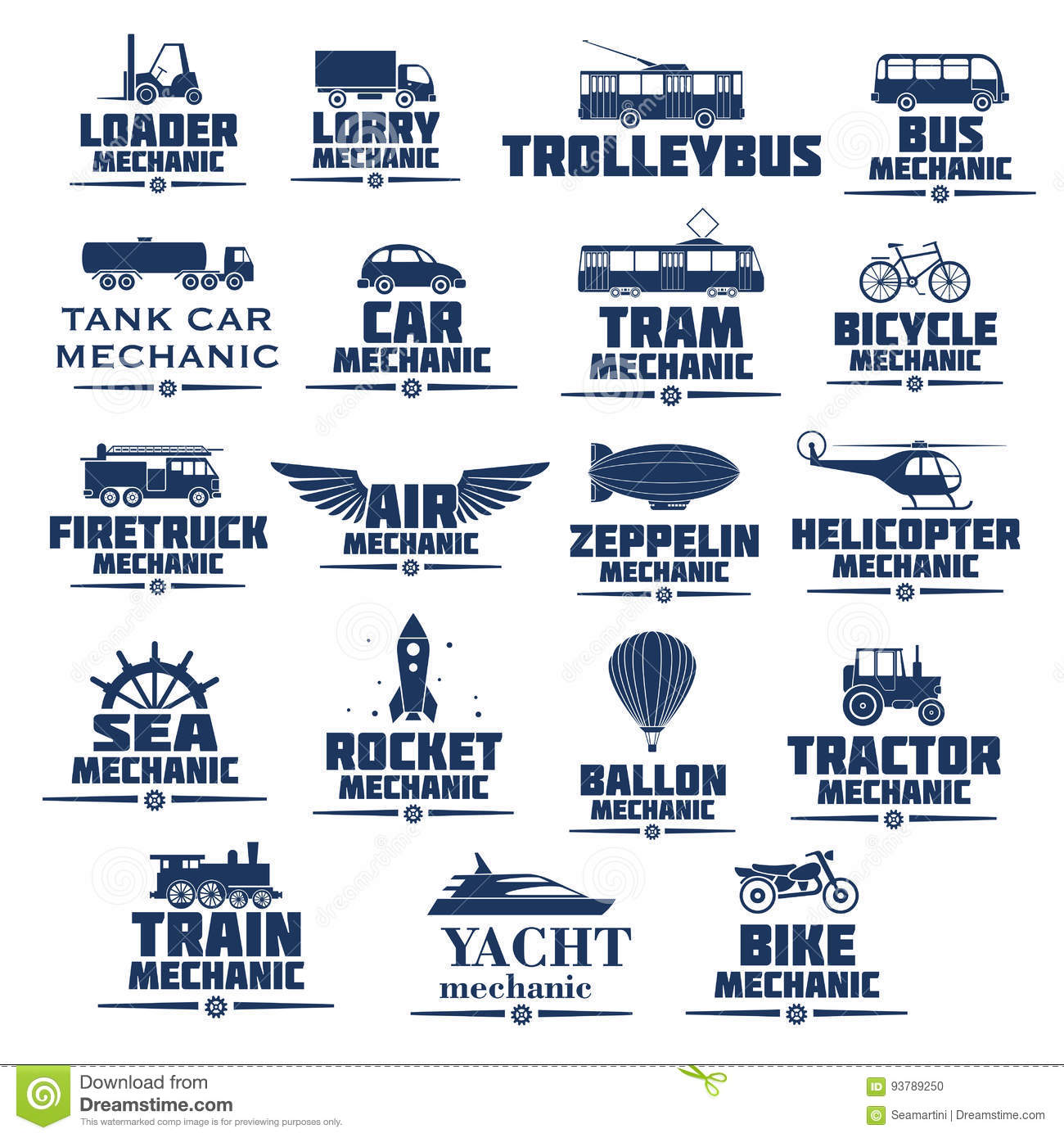 Vector icons set for transport mechanics