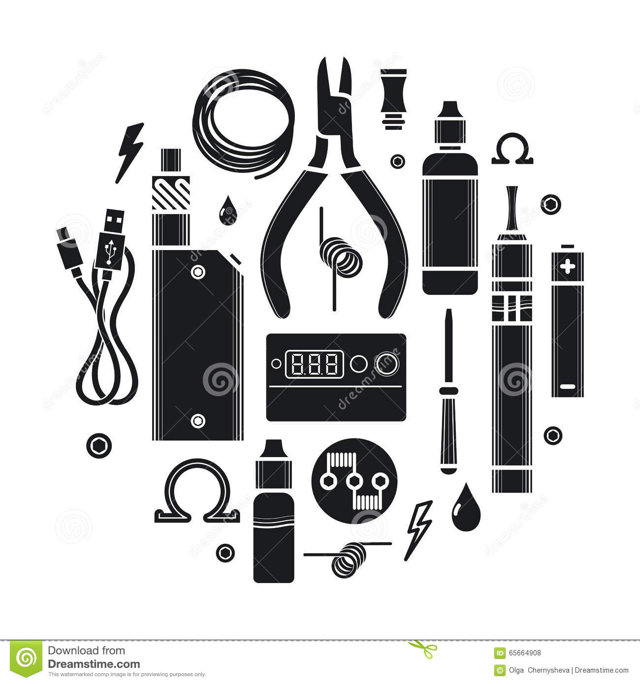 vector icons set vape service stock vector illustration of icons