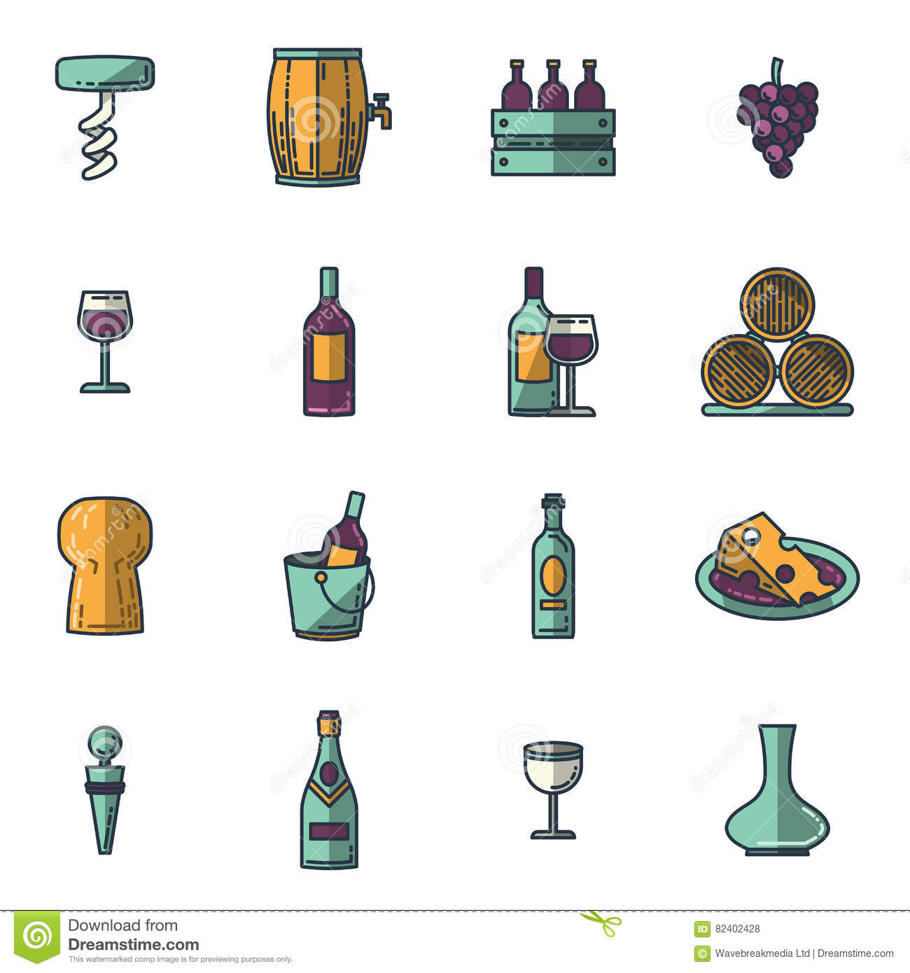 Vector icons set of wine