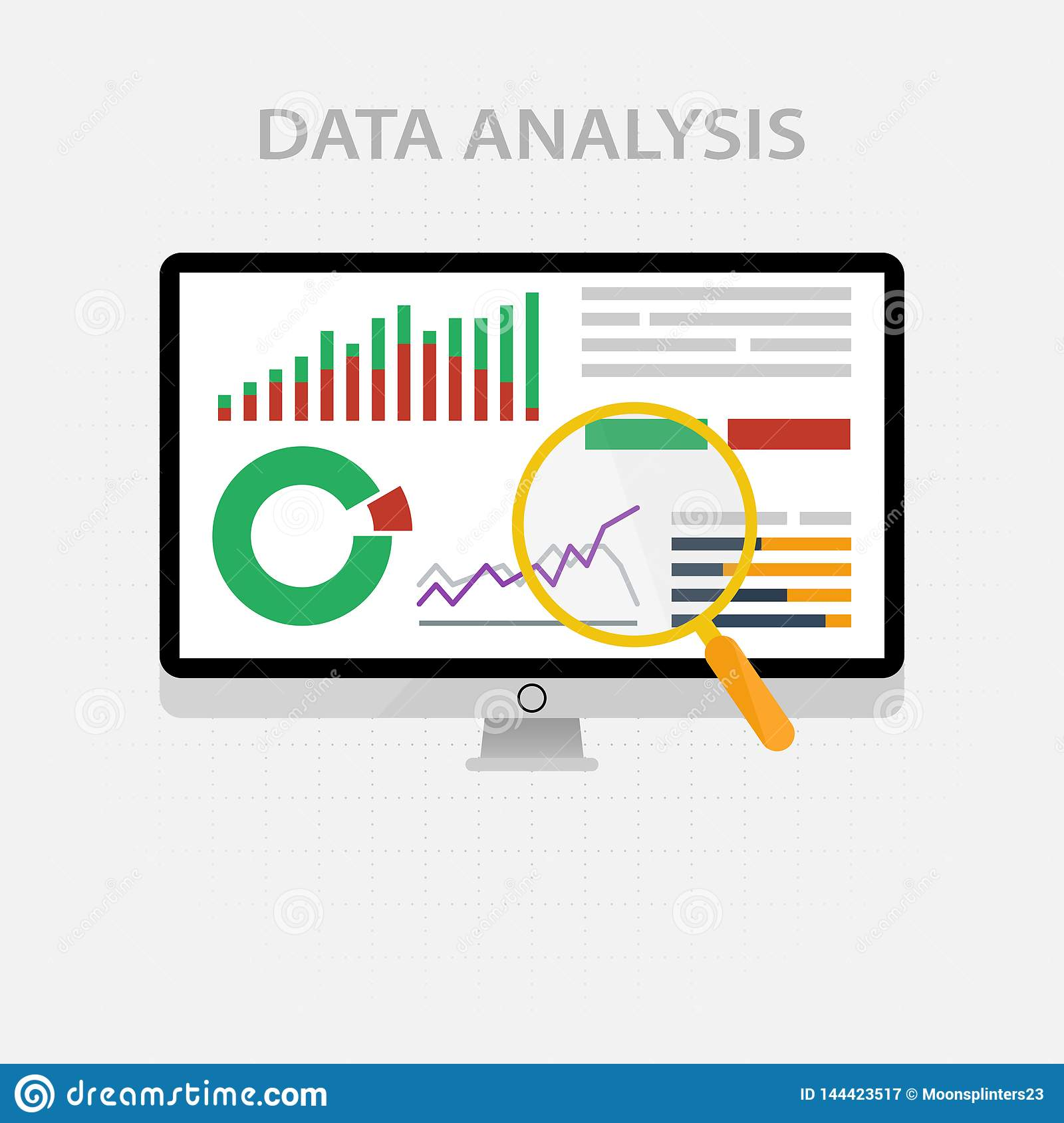 Vector icons and signs for the management and marketing concept of infographic of big data analysis and financial business