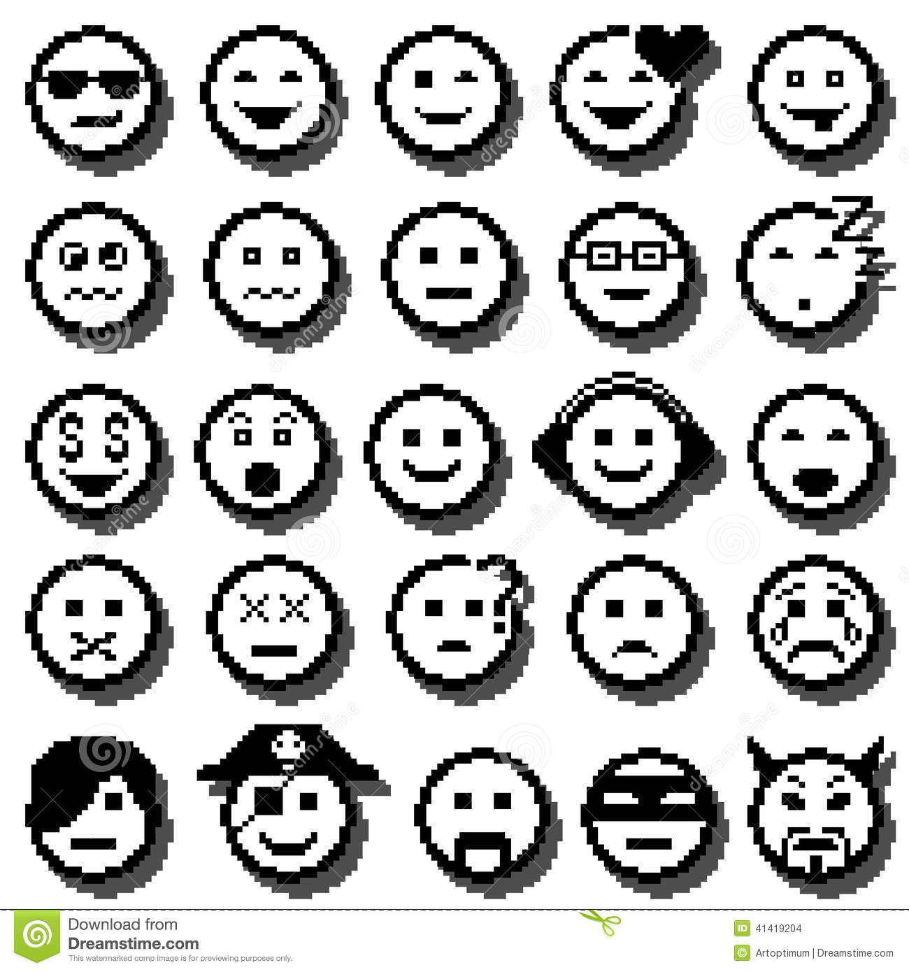 Vector Icons Of Smiley Faces Pixel Art Illustration
