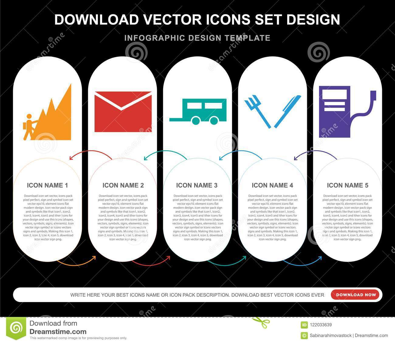 5 Vector Icons Such As Climb, Envelope, Road Caravan, Knife And Fork