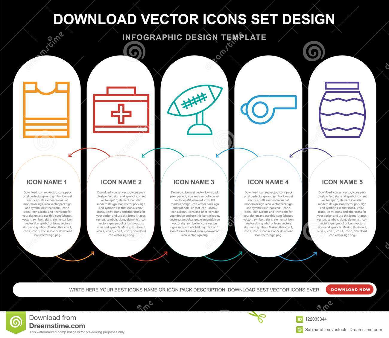 5 Vector Icons Such As Padded Shirt, First Aid Kit, American