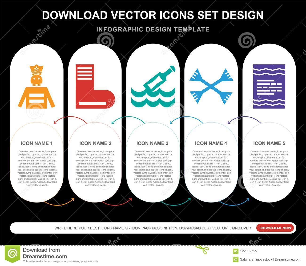 5 vector icons such as pirate boots message in a bottle paddles