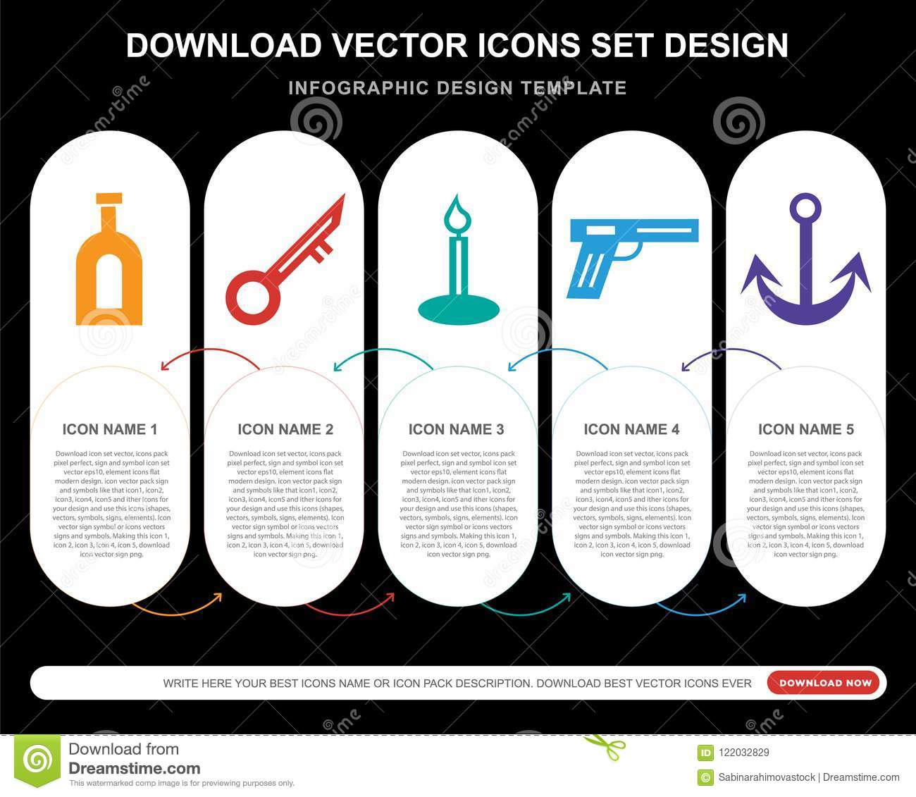 5 Vector Icons Such As Poison Key Candle Musket Anchor For