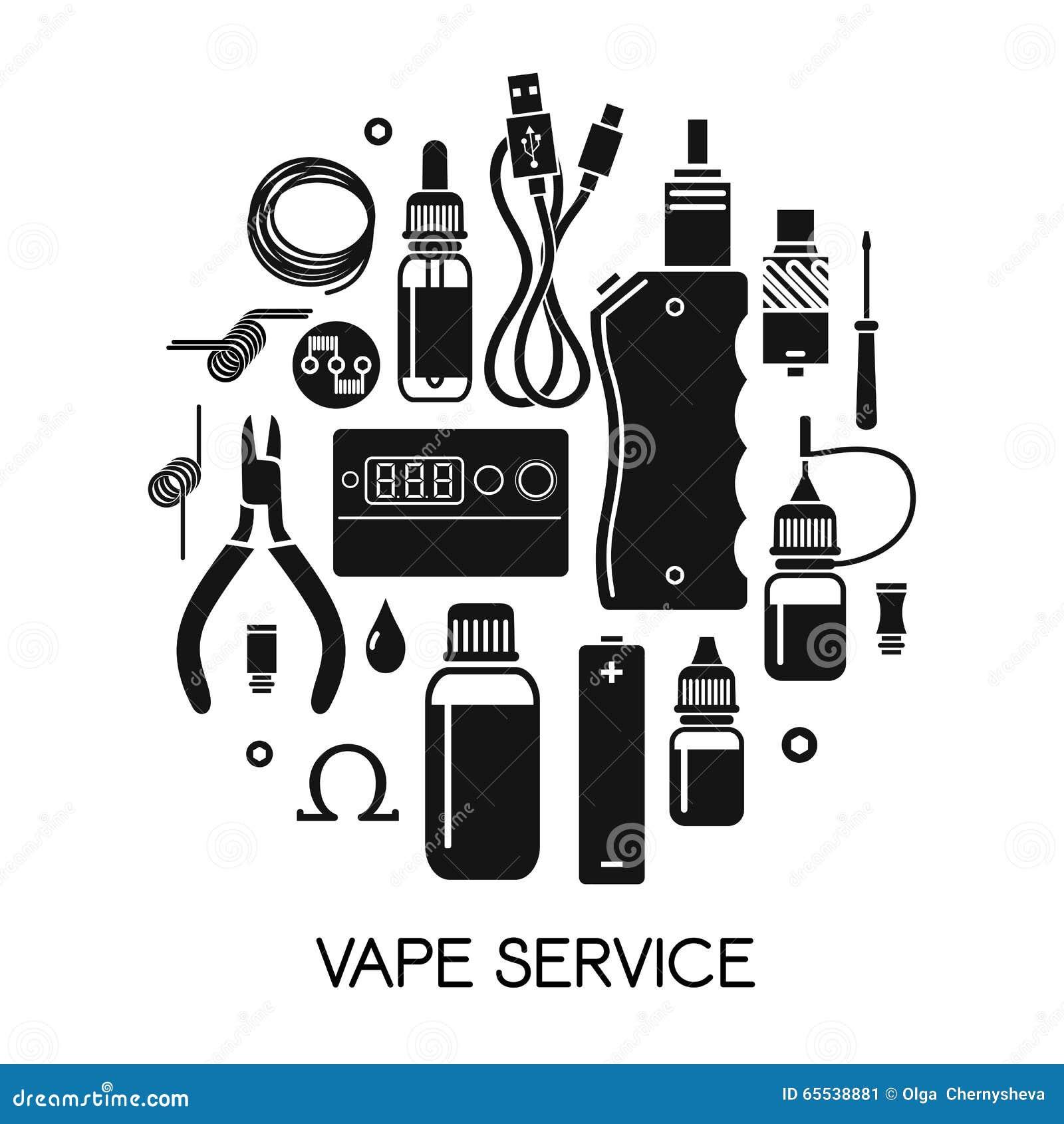 vape icons set  outline style vector illustration