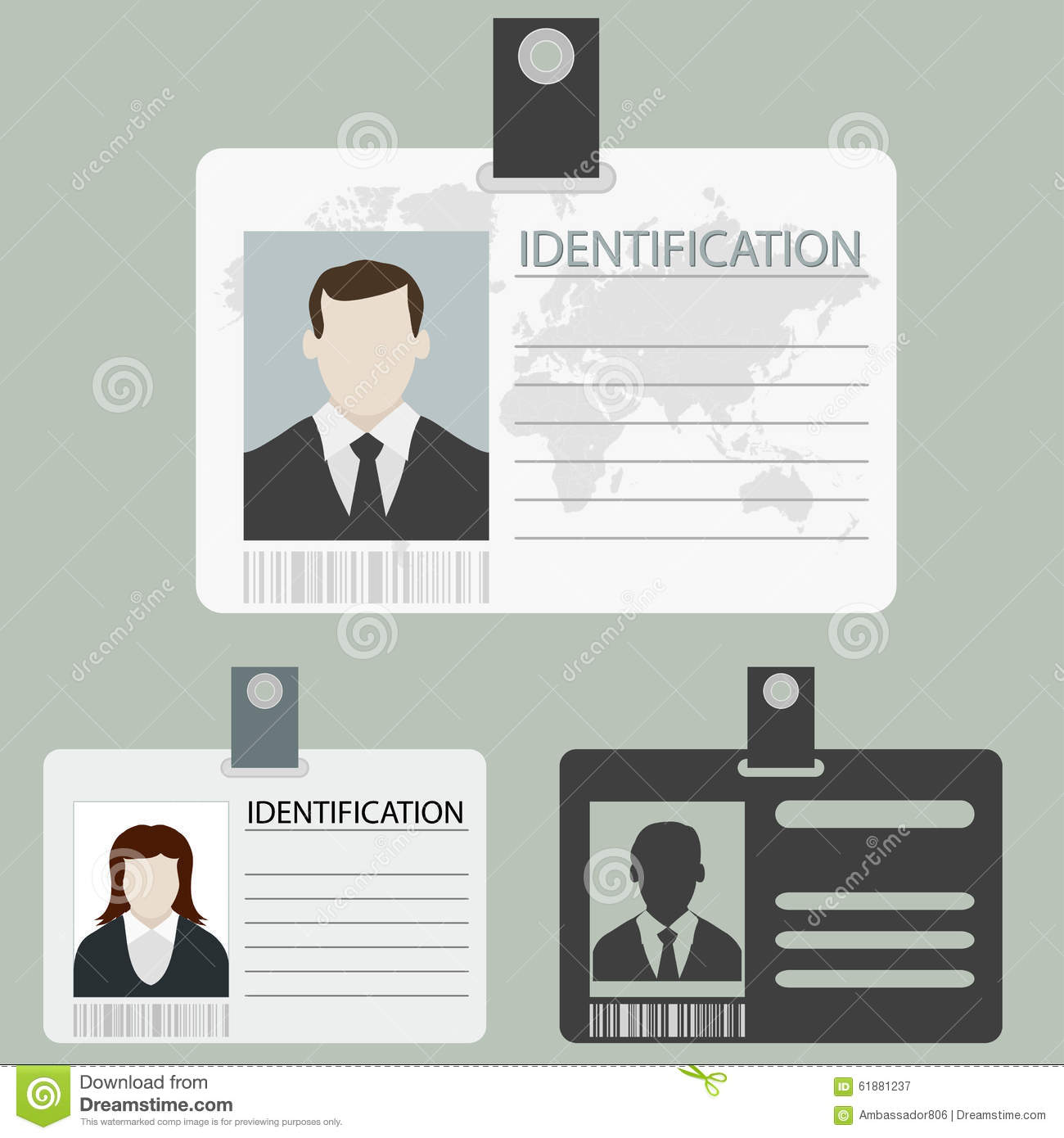 Vector id card set stock vector. Illustration of element - 61881237