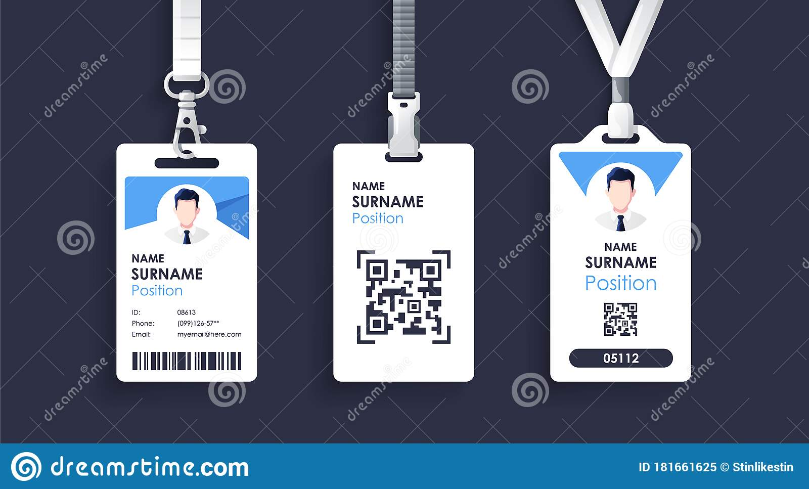 Vector Id Card Template With Clasp And Lanyard Blue And White Color Mock Up Set Modern Colorful Icon Collection Employee Id Stock Vector Illustration Of Corporate Color 181661625