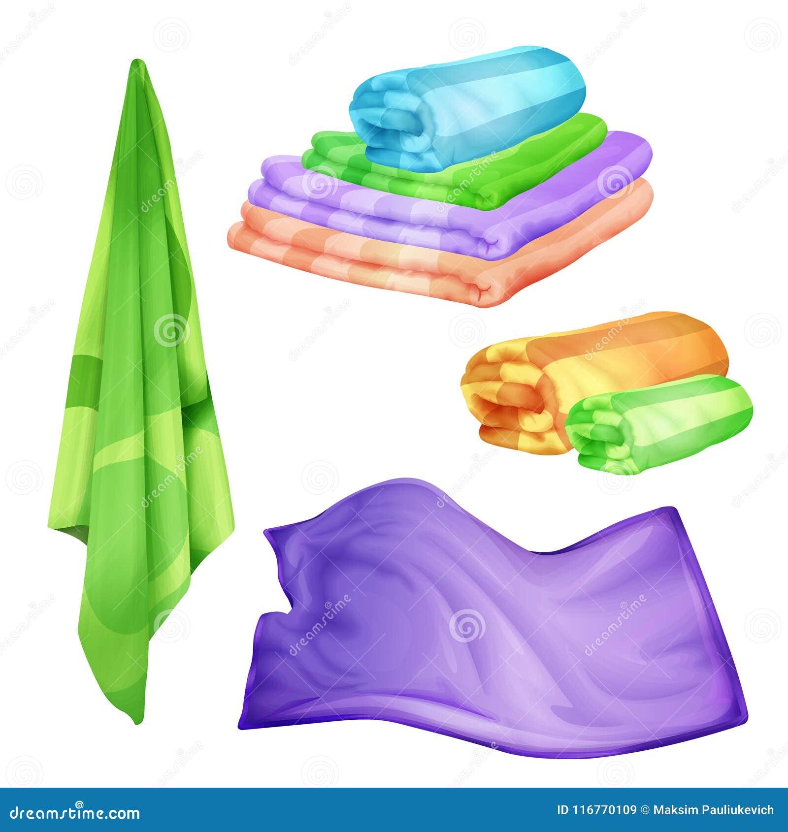 Vector il bagno realistico, insieme dell asciugamano colorato stazione termale