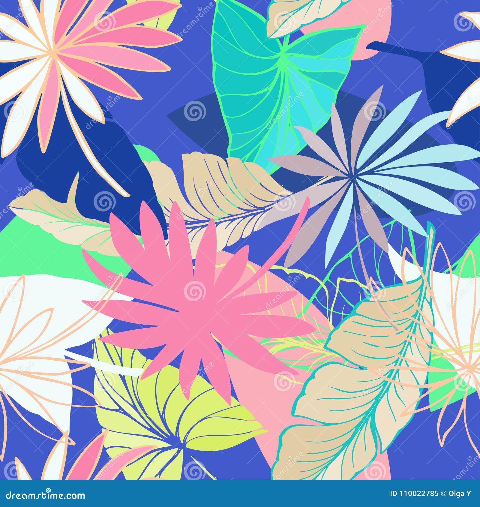 Vector il bello modello tropicale luminoso artistico senza cuciture con la banana, la foglia della dracaena e dello Syngonium, di