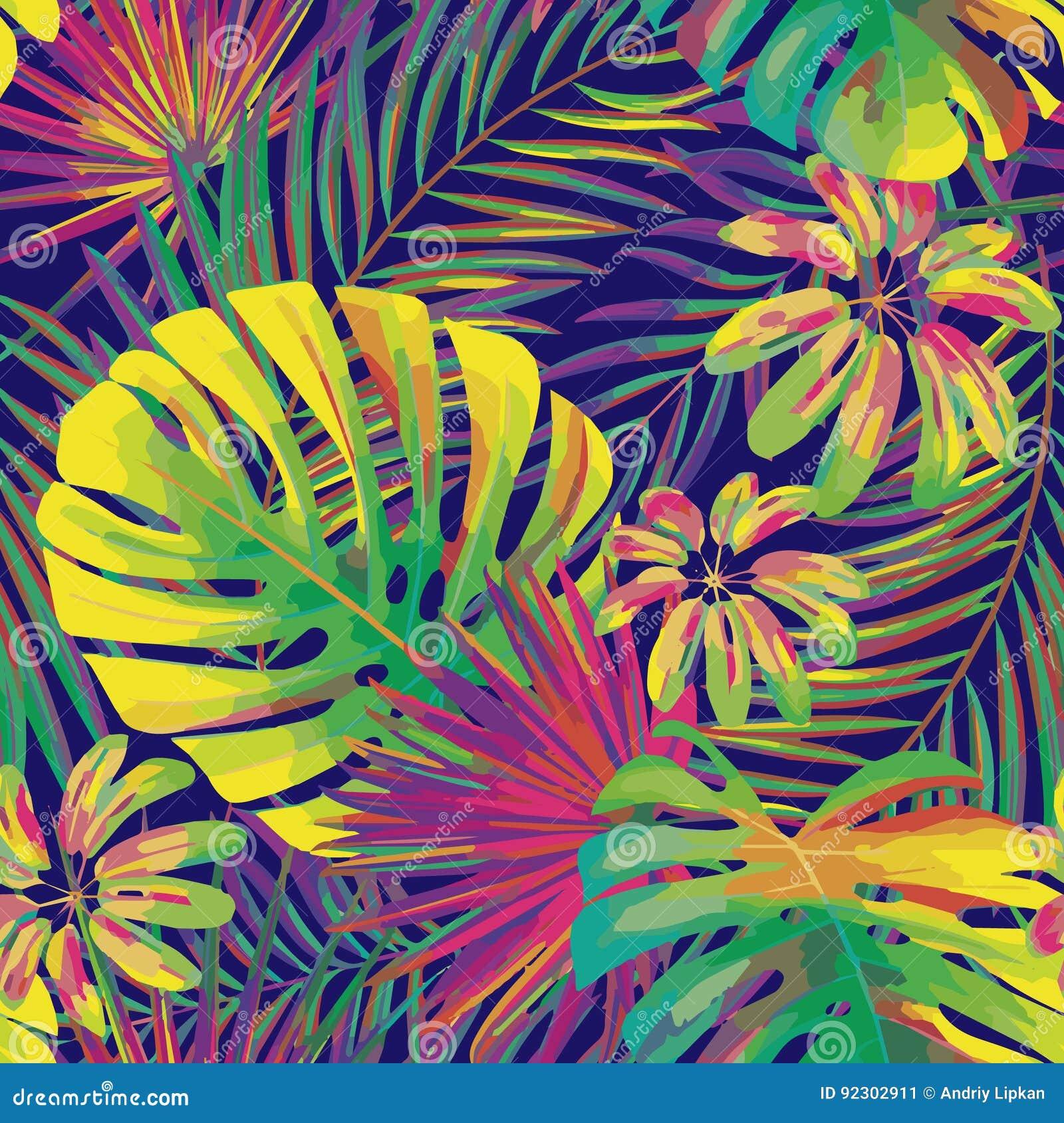 Vector il bello modello tropicale luminoso artistico senza cuciture con la foglia di monstera, la fronda, la foglia spaccata, il