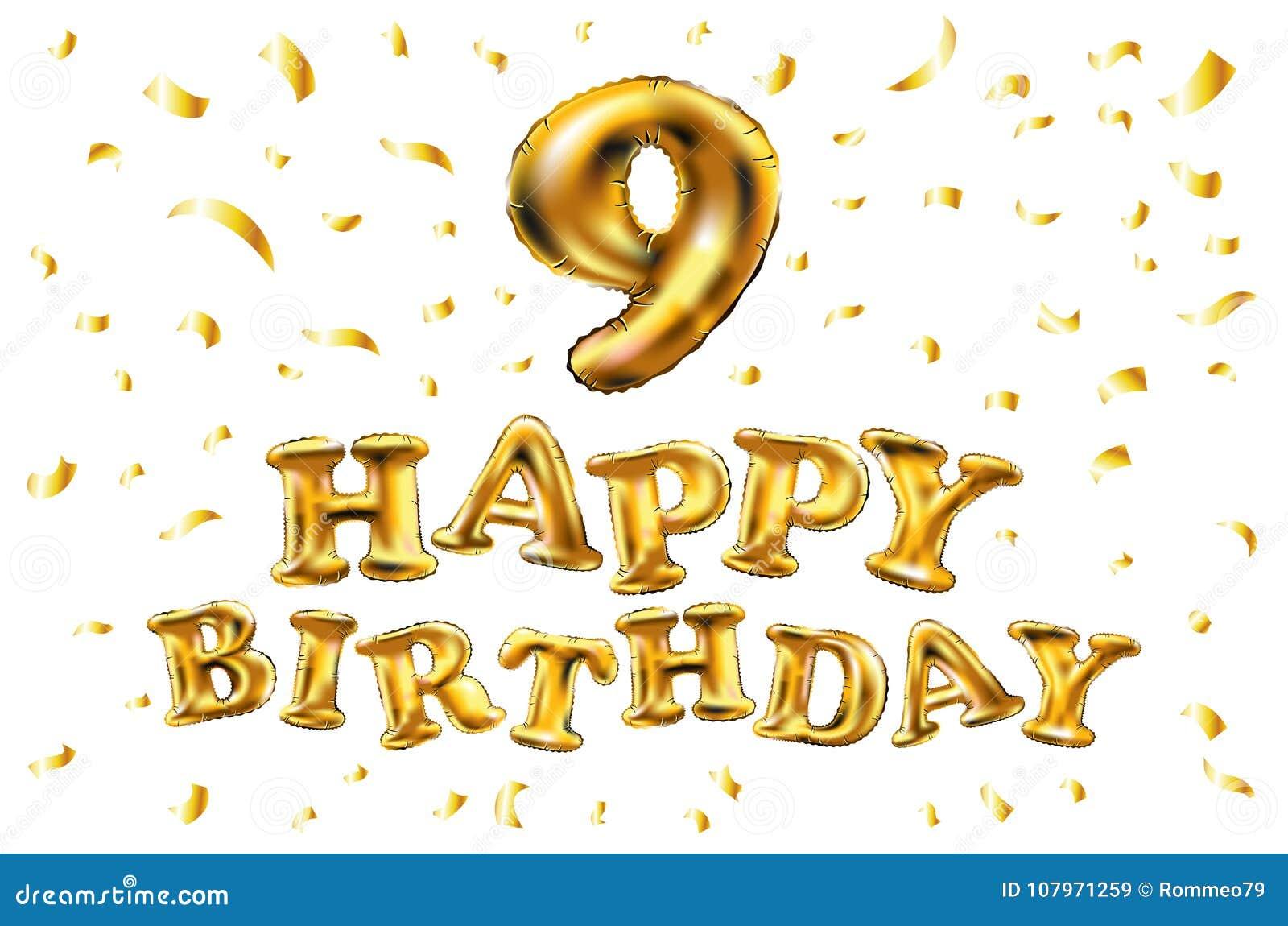 Auguri Di Buon Compleanno 9 Anni.Vector Il Buon Compleanno 9 Anni Di Anniversario Di