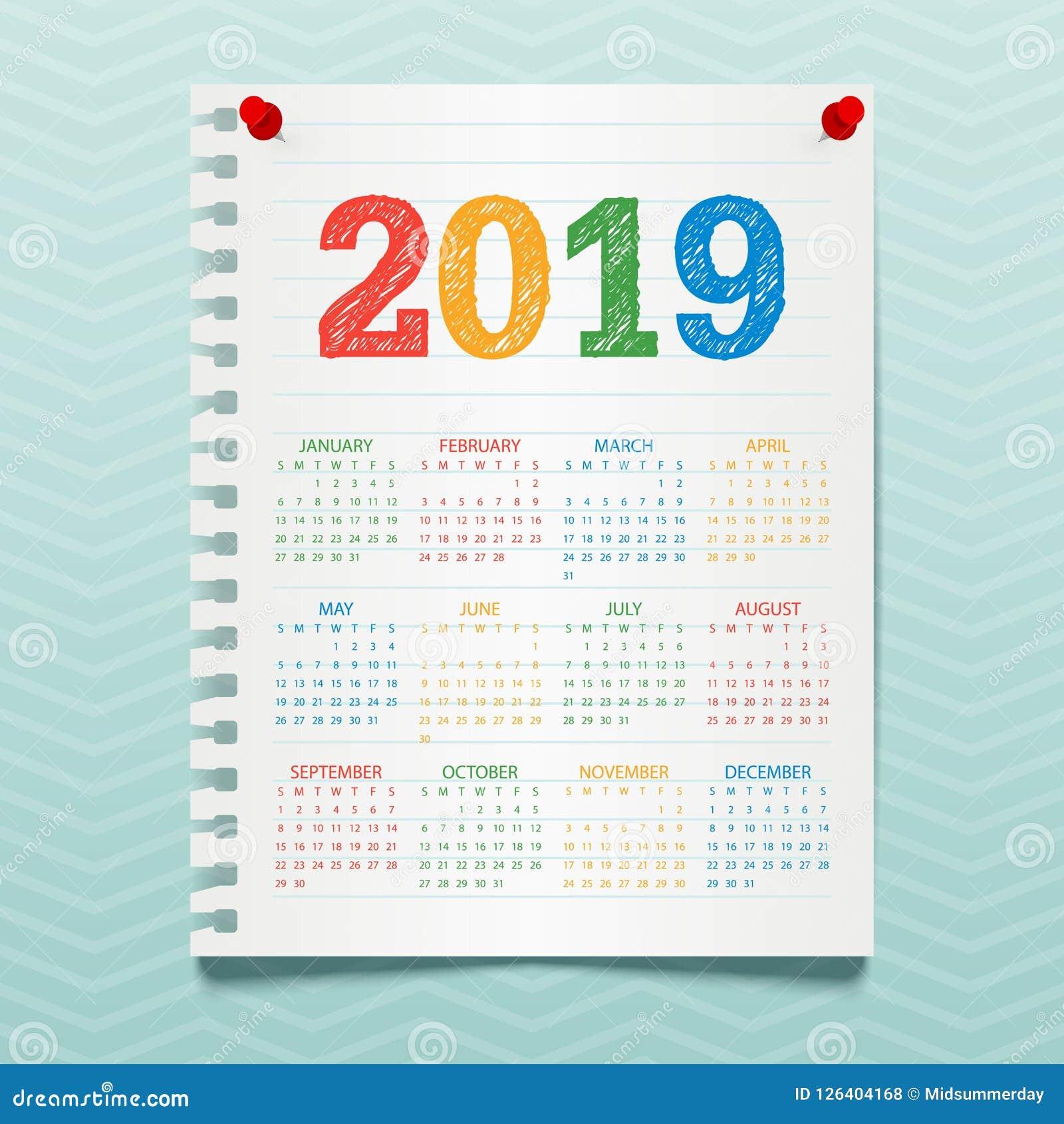 Vector Il Calendario Per 2019 Anni Che Appendono Su Una ...