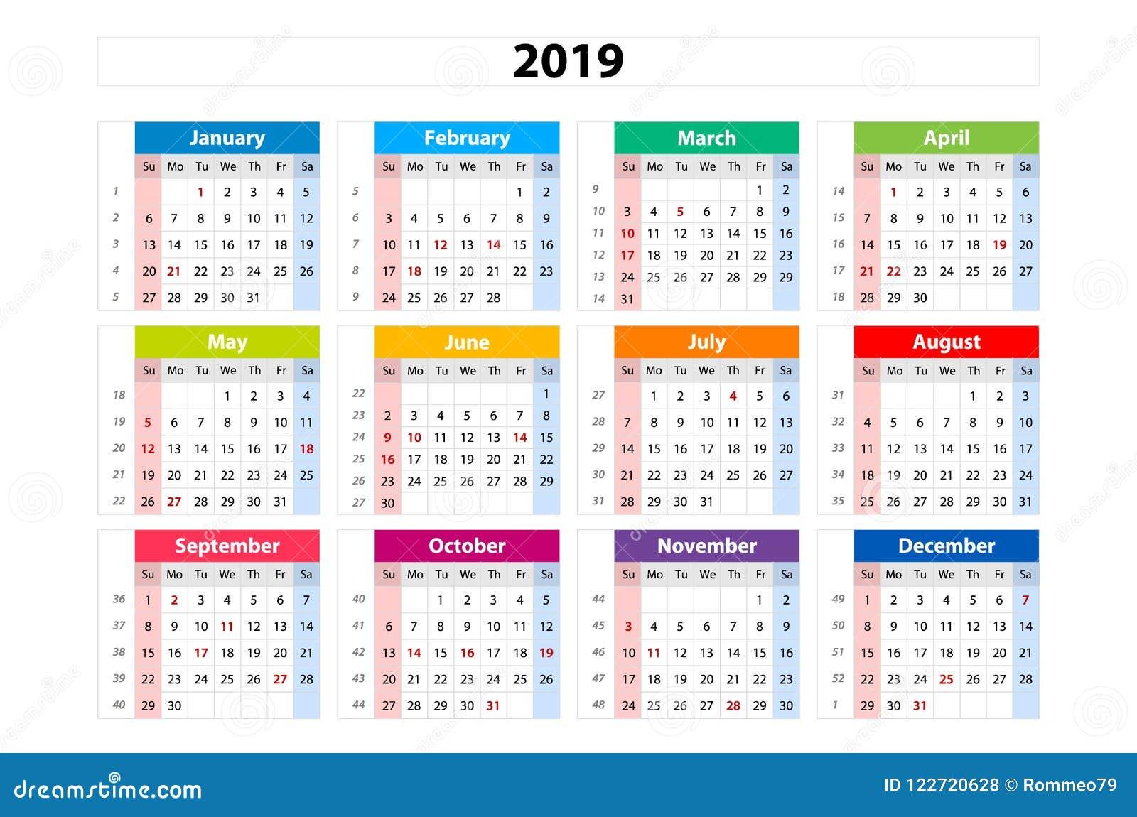 Calendario 2019 Moderno.Vector Il Calendario 2019 Settimana Parte Da Domenica