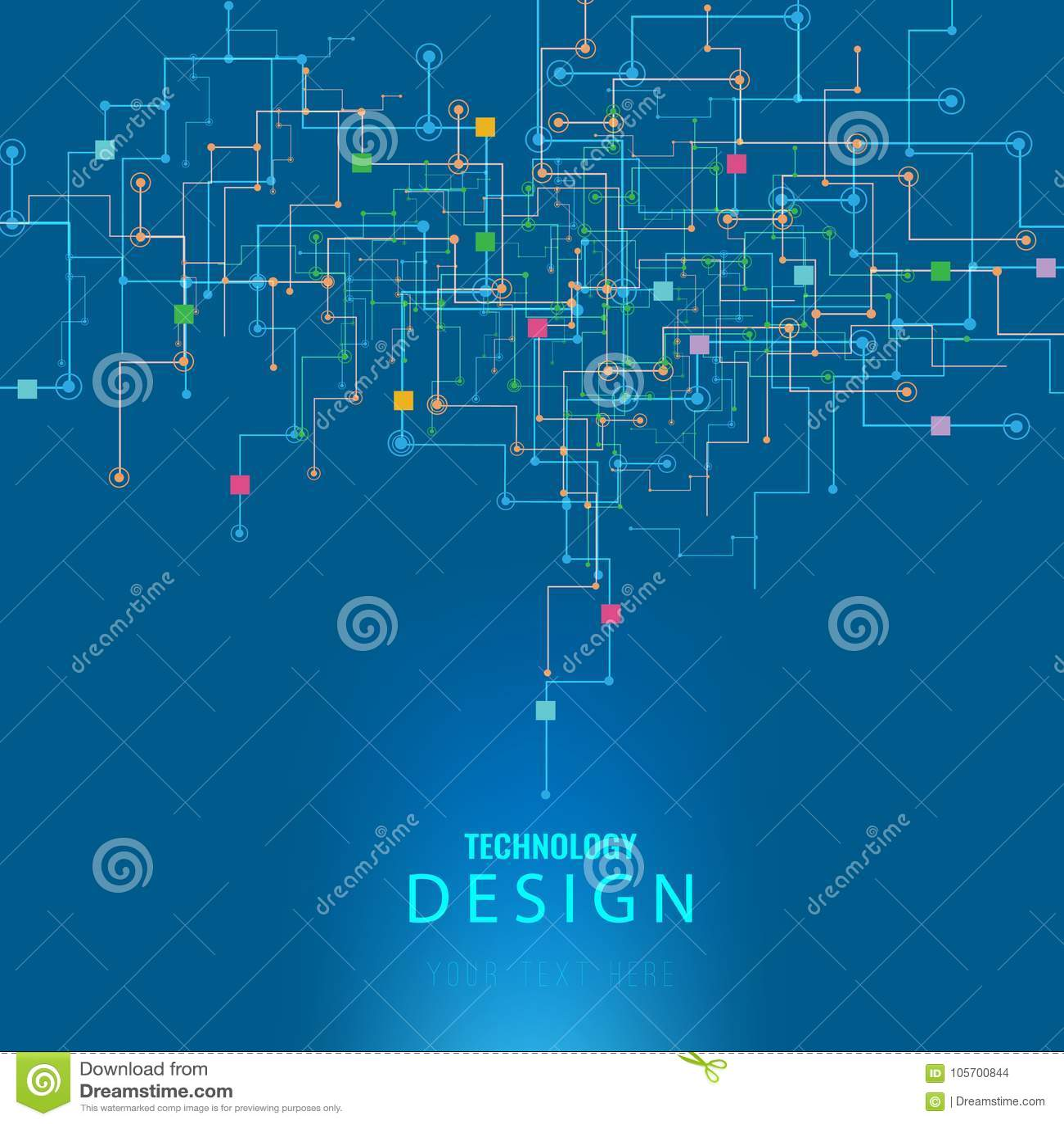 Vector il circuito futuristico astratto, alto fondo blu scuro di colore di tecnologie informatiche dell illustrazione techno digi