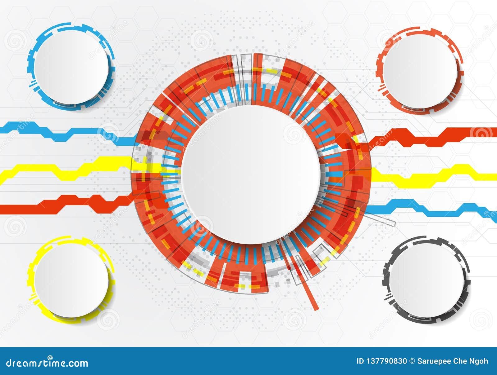 Vector il circuito futuristico astratto su fondo grigio chiaro, concetto di tecnologia digitale di ciao-tecnologia Cerchio bianco