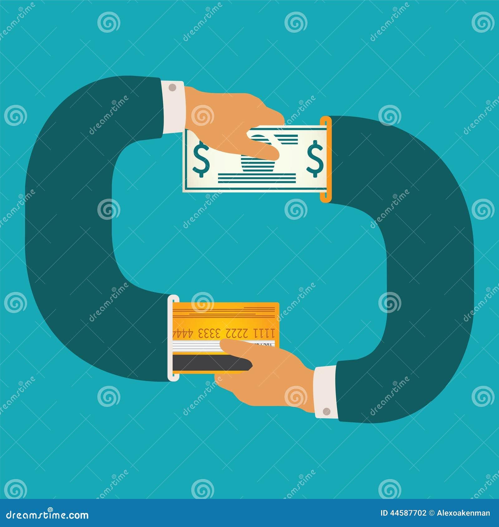 Vector il concetto dell illustrazione di contanti e di circolazione non contante dei soldi