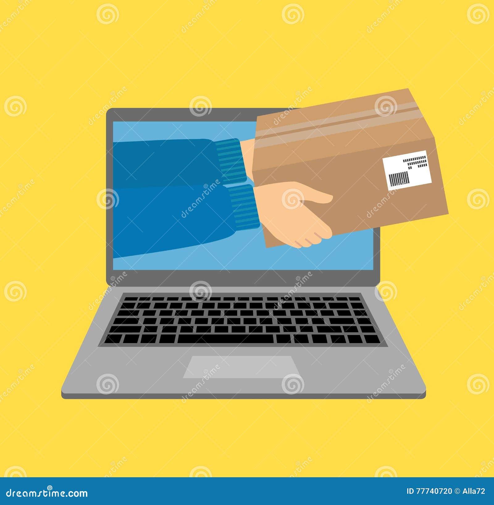 Vector il concetto dell illustrazione per servizio di distribuzione del regalo, il commercio elettronico, acquisto online, riceve