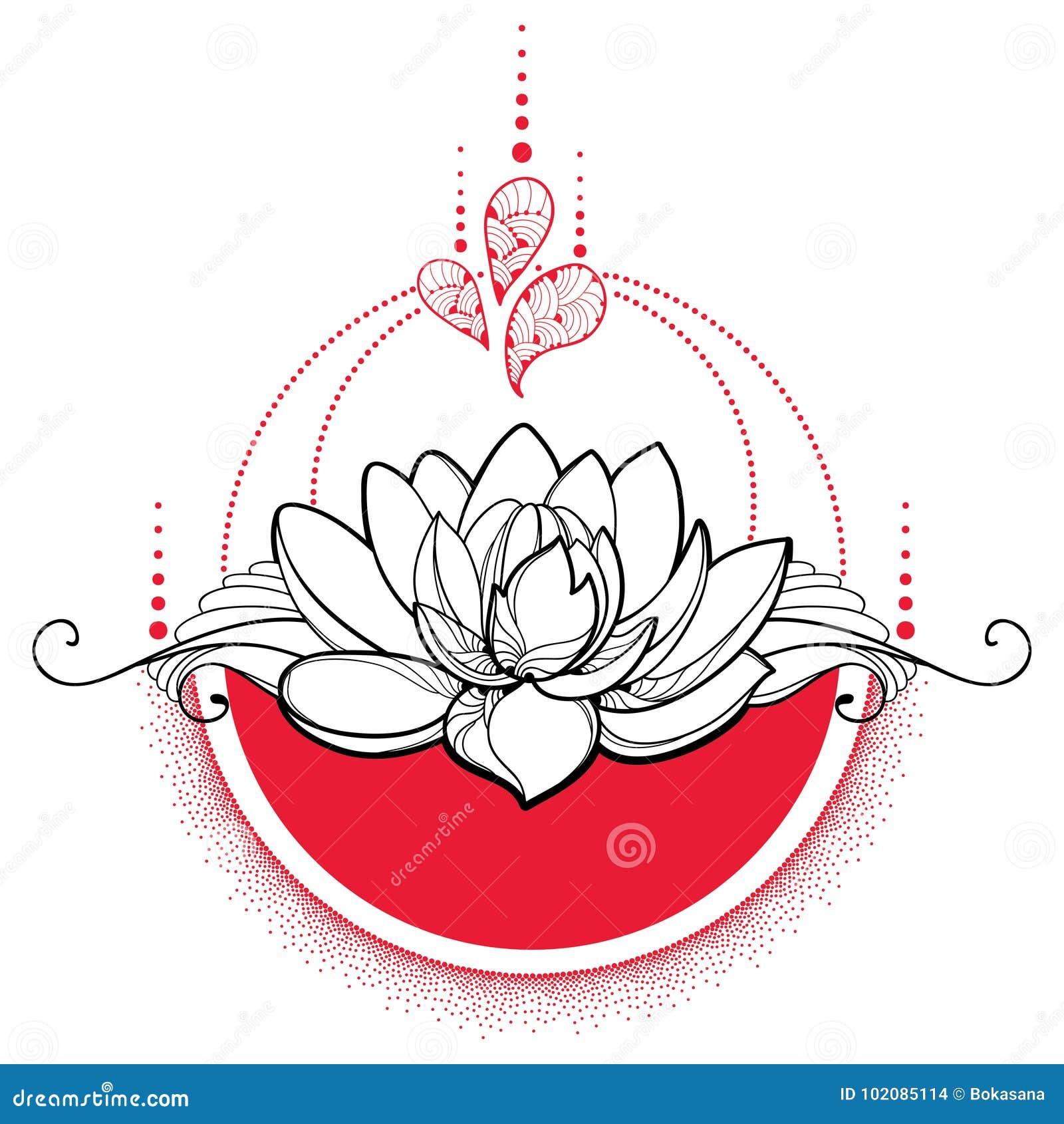 Vector il disegno con il fiore di lotus del nero del - Fiore collegare i punti ...
