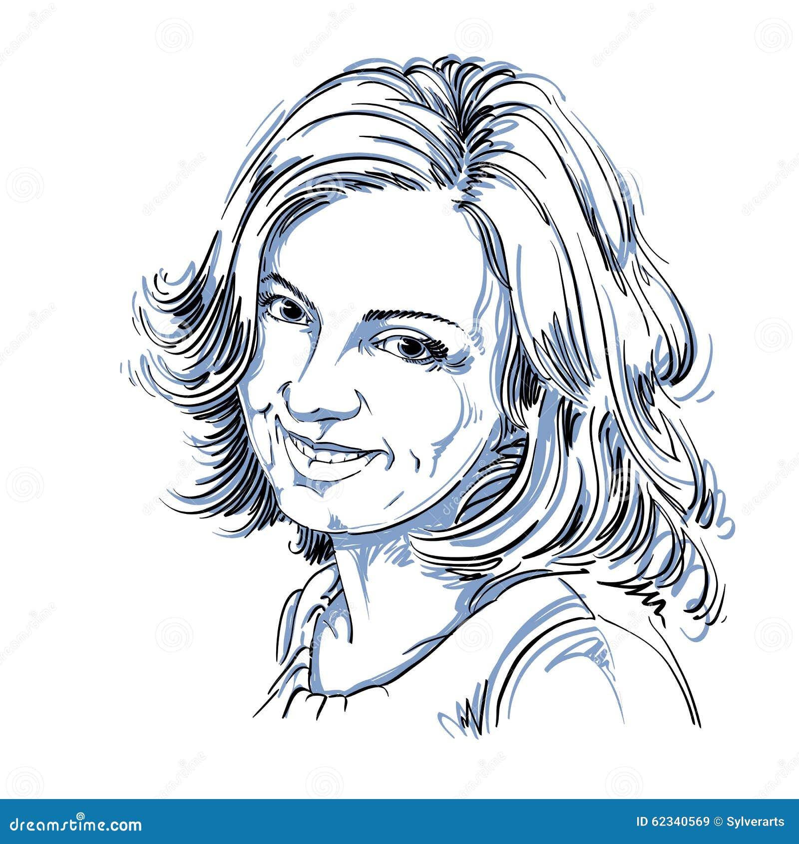 Vector Il Disegno Della Donna Sincera Sorridente Con ...