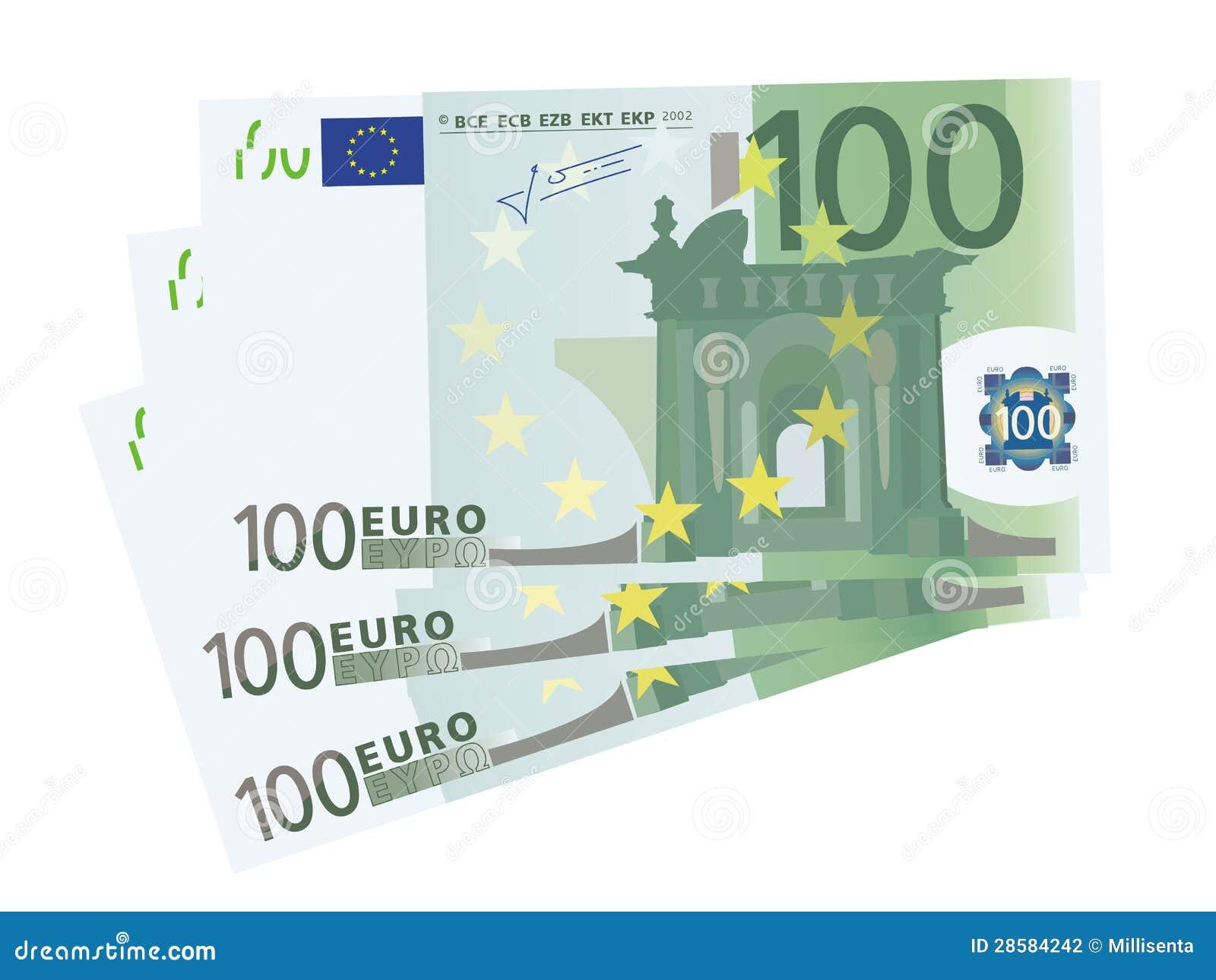 Vector il disegno di euro fatture un 3x 100 isolate for Wohnlandschaft 100 euro
