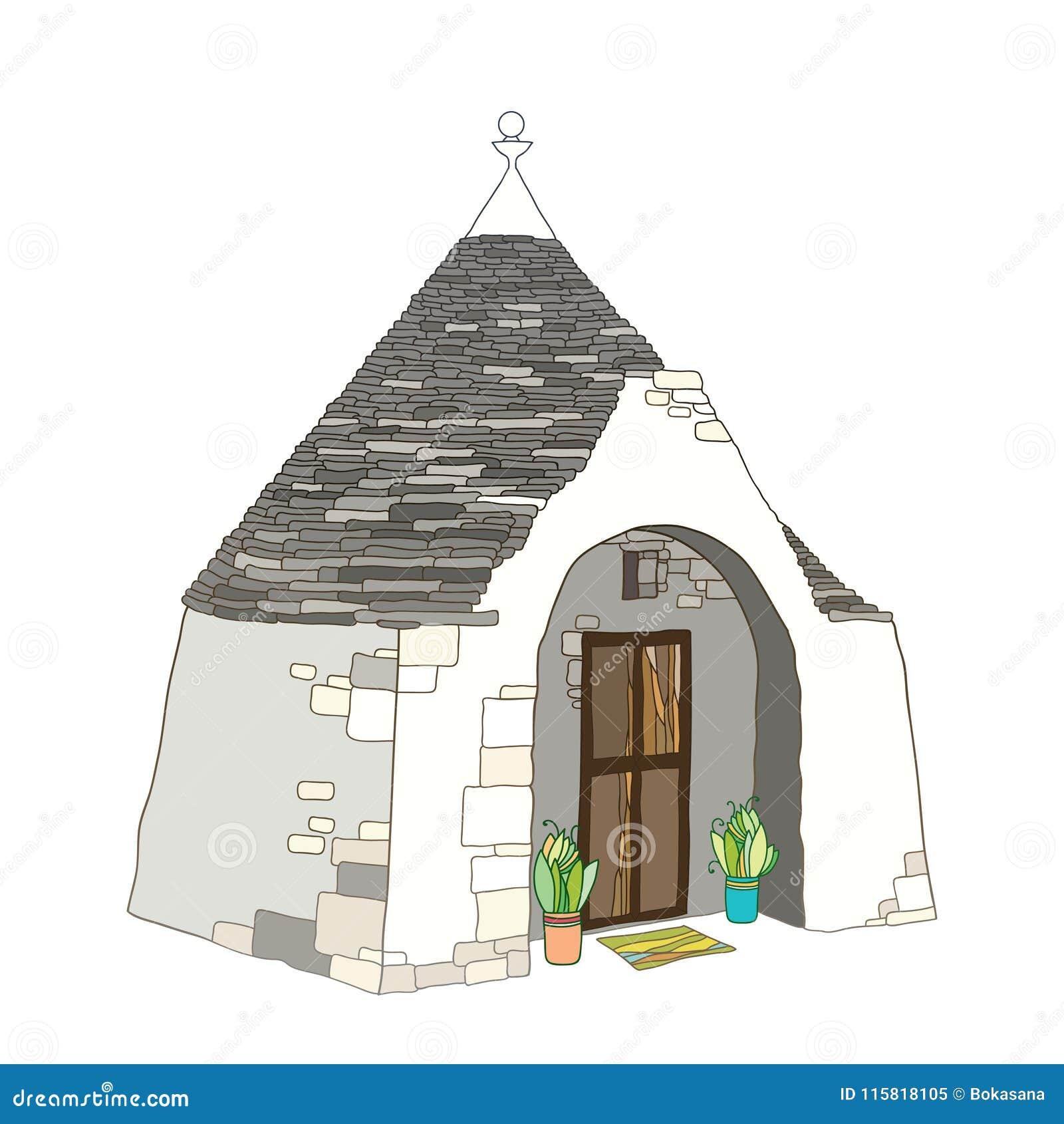Vector il disegno di profilo della casa di trullo o di for Immagini di case antiche