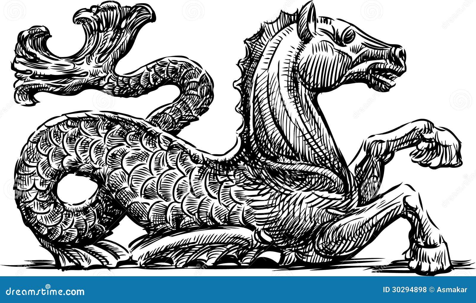 Cavalluccio marino mitologico illustrazione vettoriale for Cavalluccio marino disegno