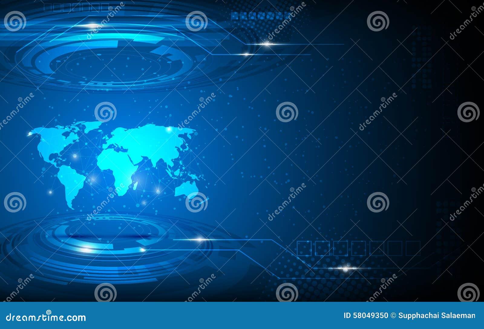Vector il fondo astratto di concetto dell innovazione di tecnologia della mappa di mondo ciao