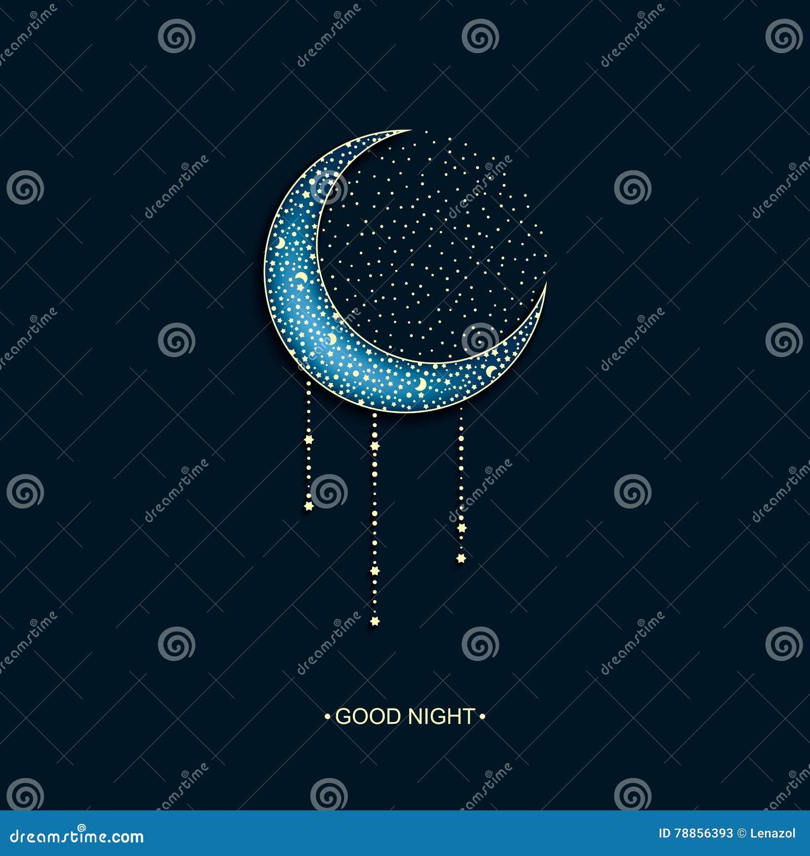 Vector Il Fondo Blu Al Neon Con La Luna E Le Stelle Decorate Arabe