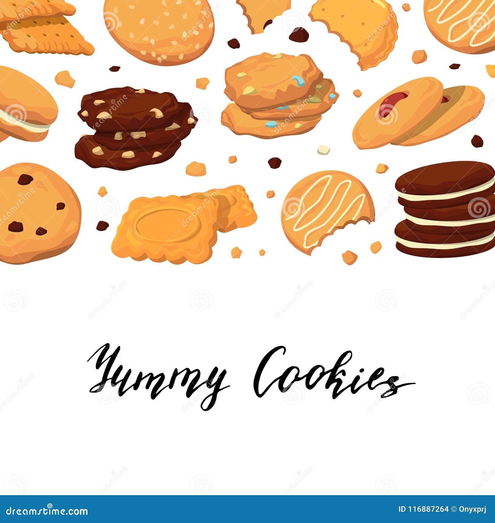 Vector il fondo con iscrizione e con i biscotti del fumetto